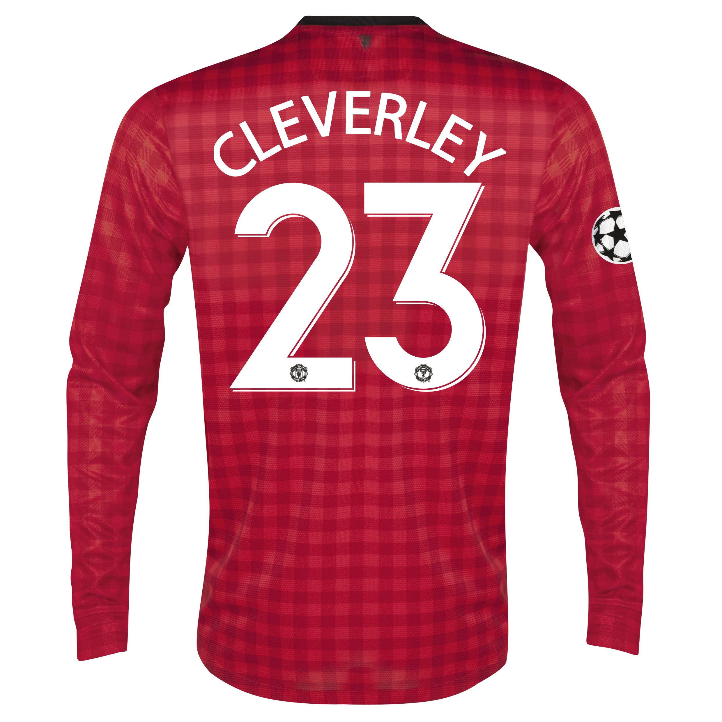Man United UEFA Champions League Home Shirt 2012/13 - Long Sleeved with Cleverley 23 printing