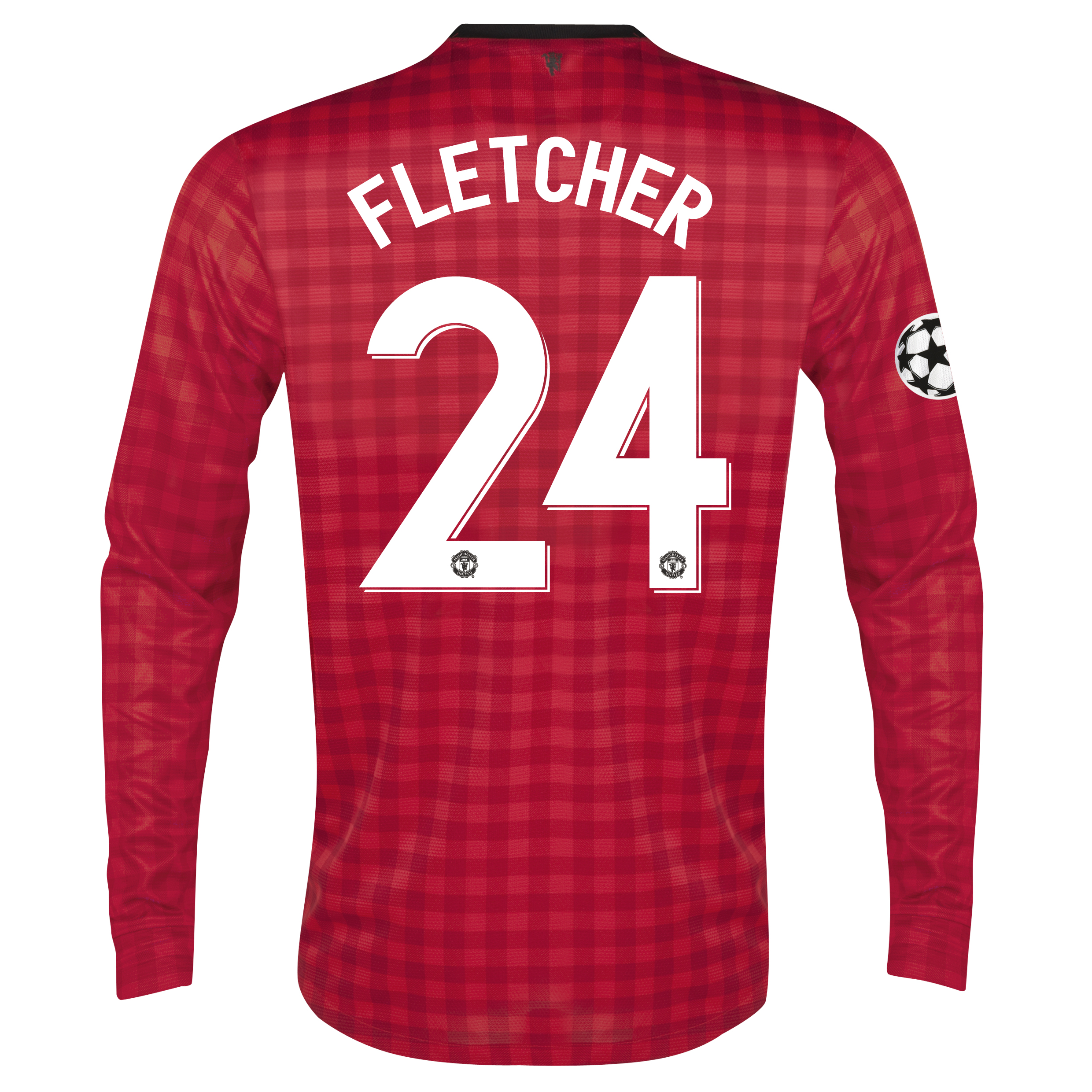 Man United UEFA Champions League Home Shirt 2012/13 - Long Sleeved with Fletcher 24 printing