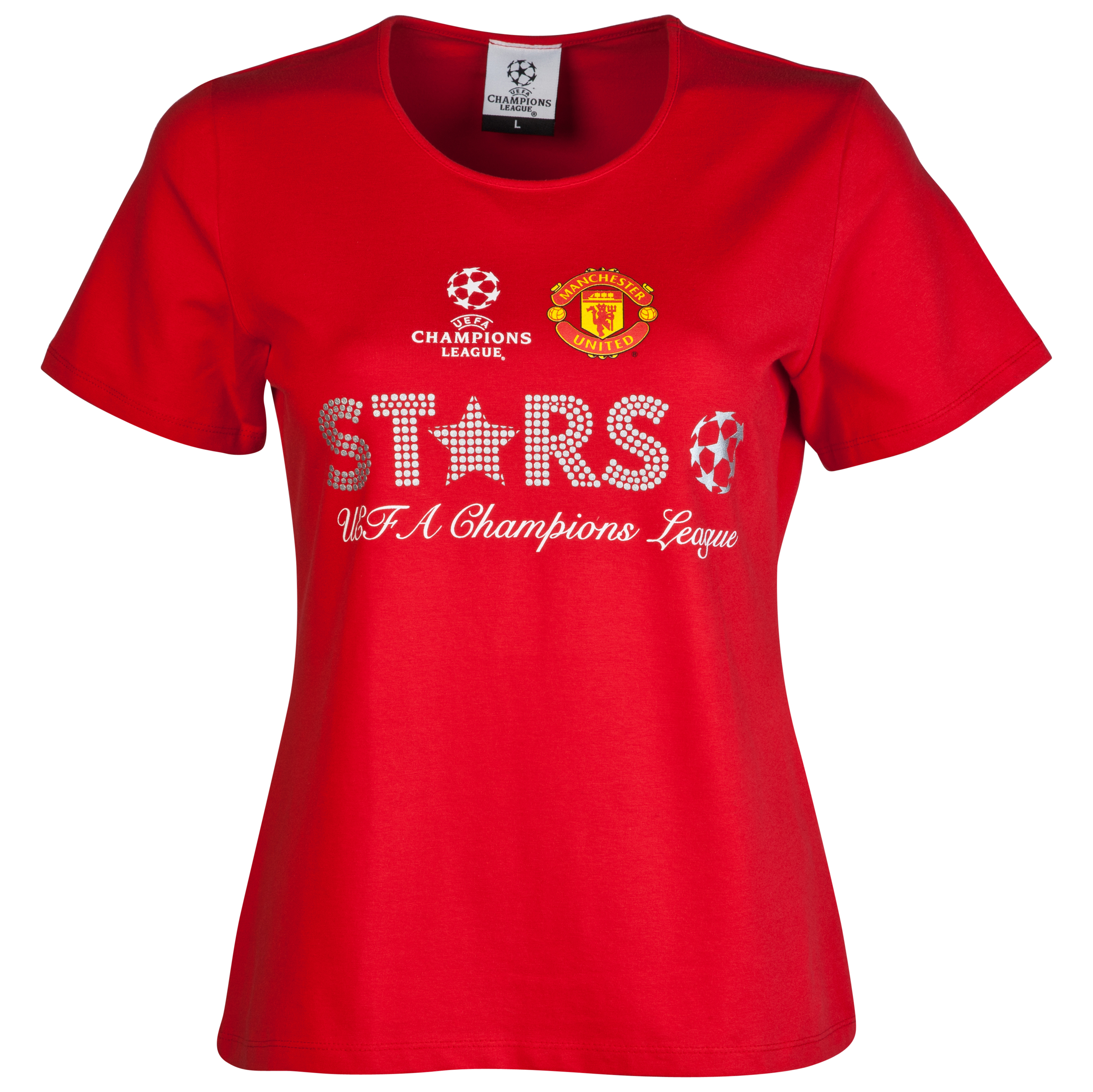 Manchester United UEFA Champions League Metallic Print T-Shirt - Red - Womens