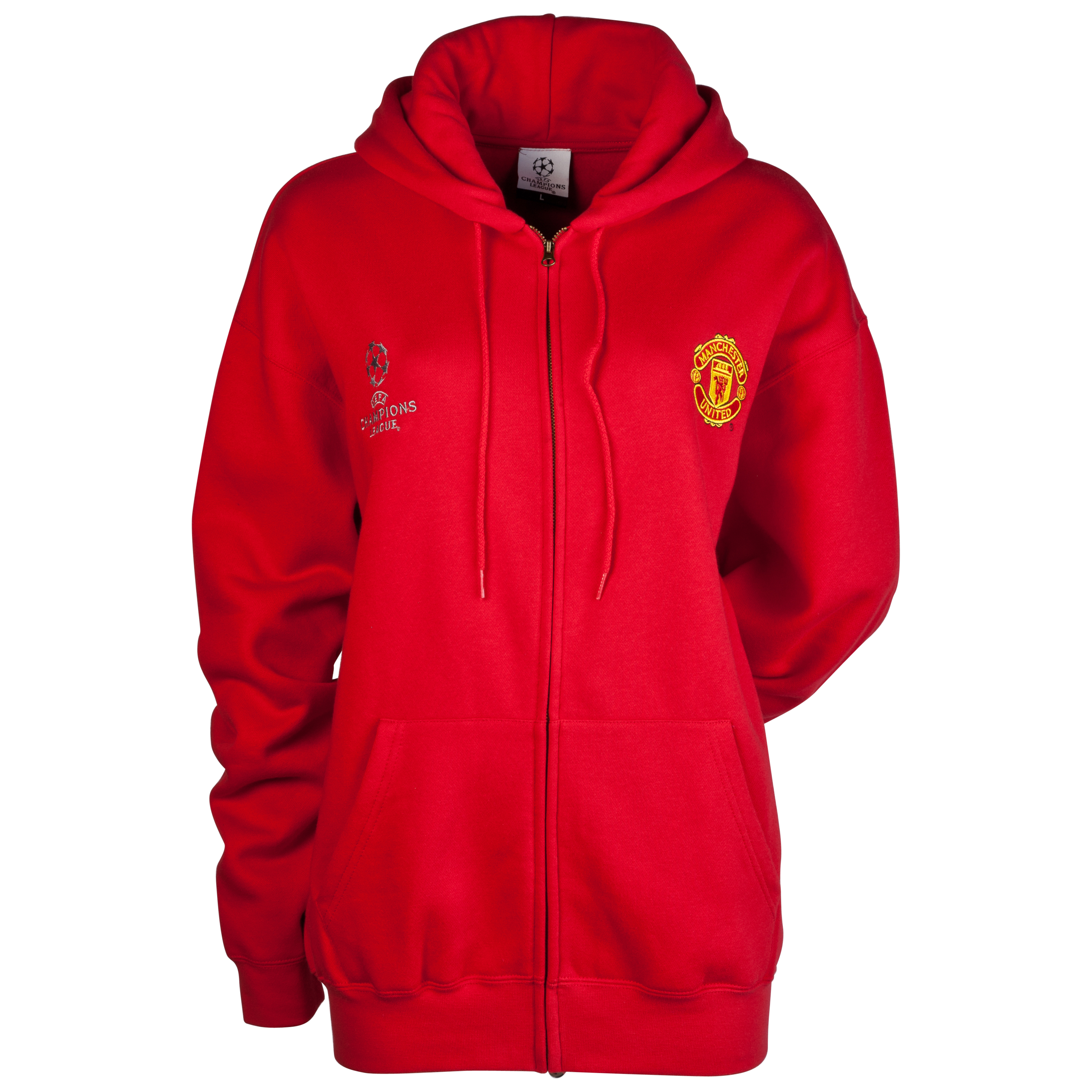 Manchester United Embroidered Full Zip Hoody - Red - Womens