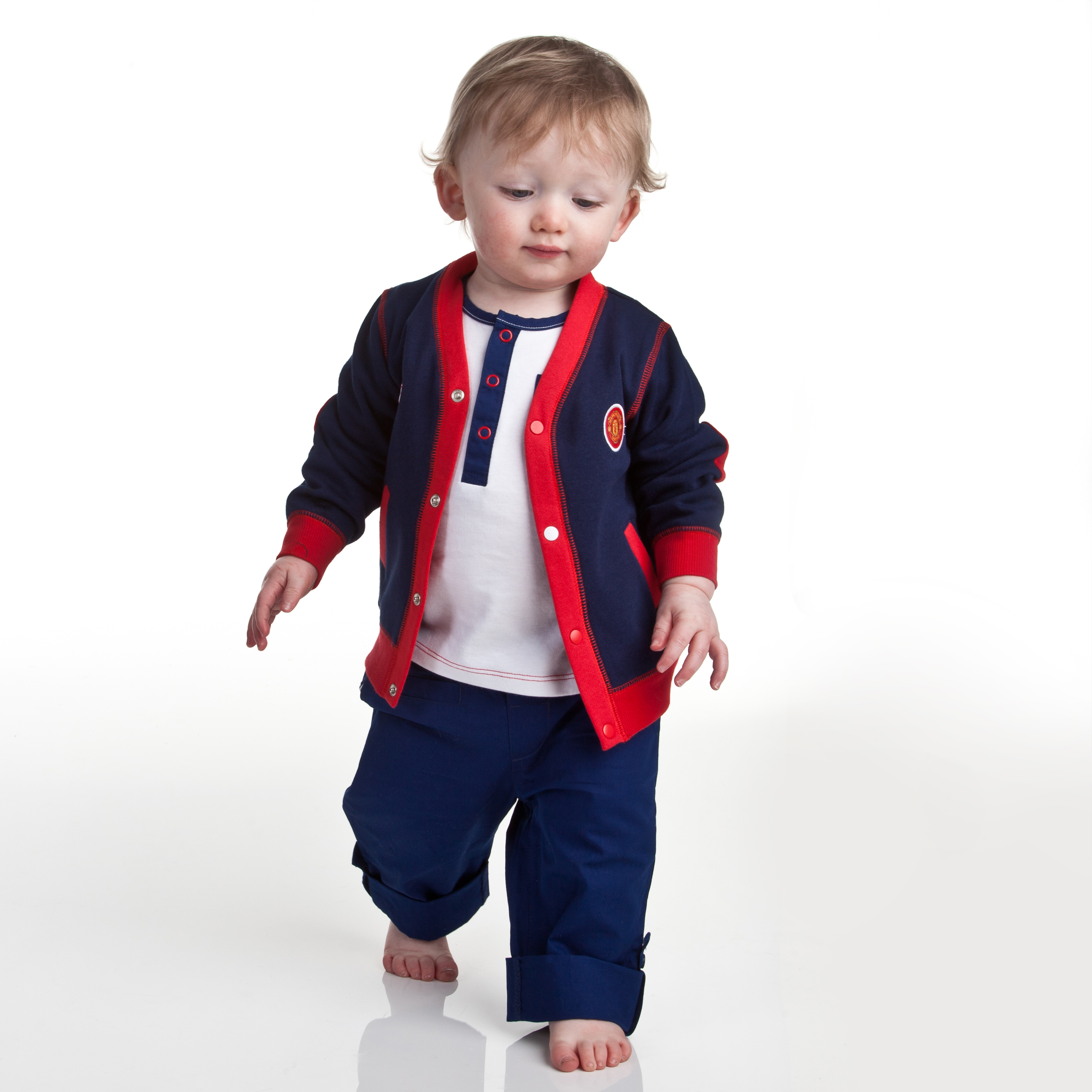Manchester United Varsity Cardigan - Navy/Red - Baby Boys