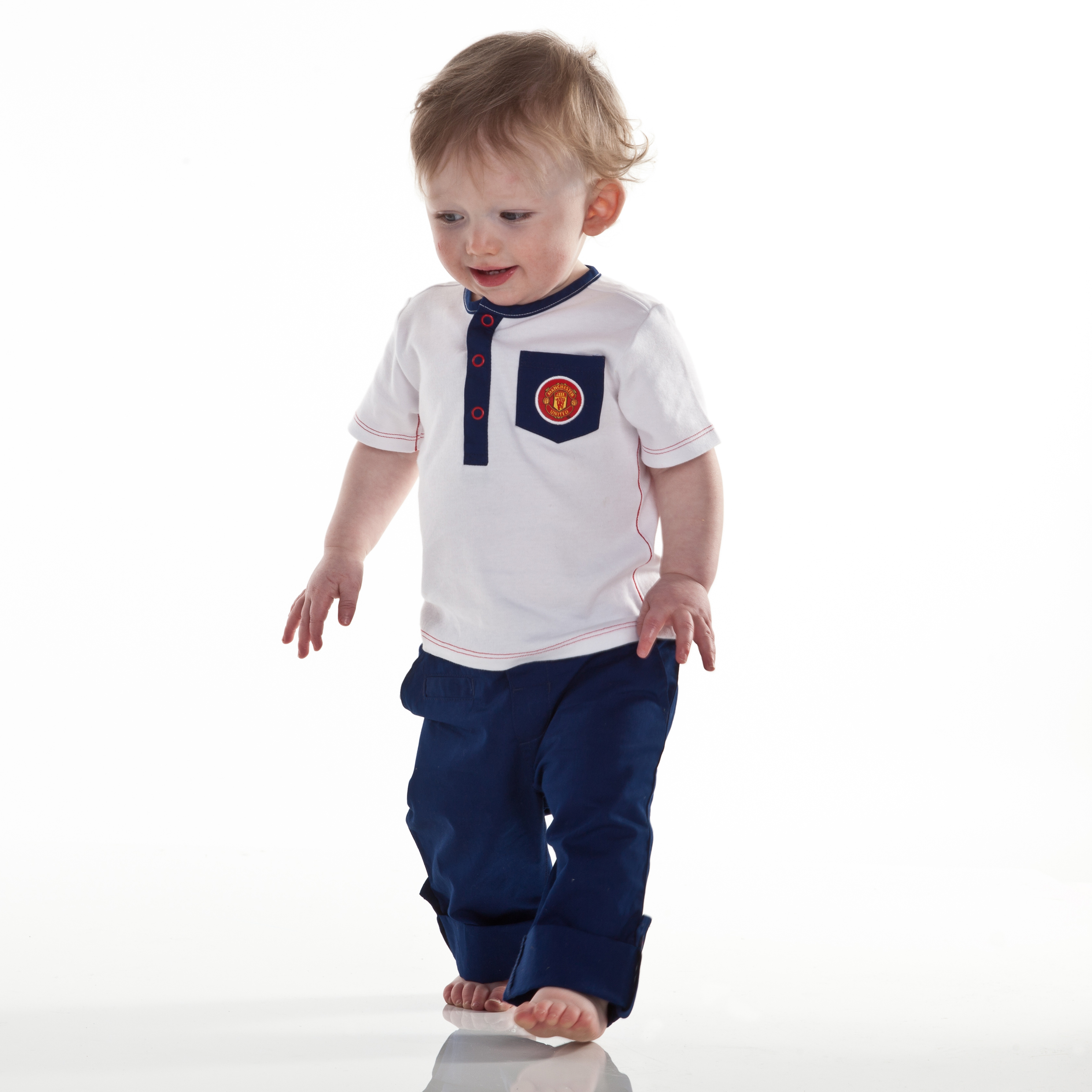 Manchester United T-Shirt and Chino Set - White/Navy - Baby Boys