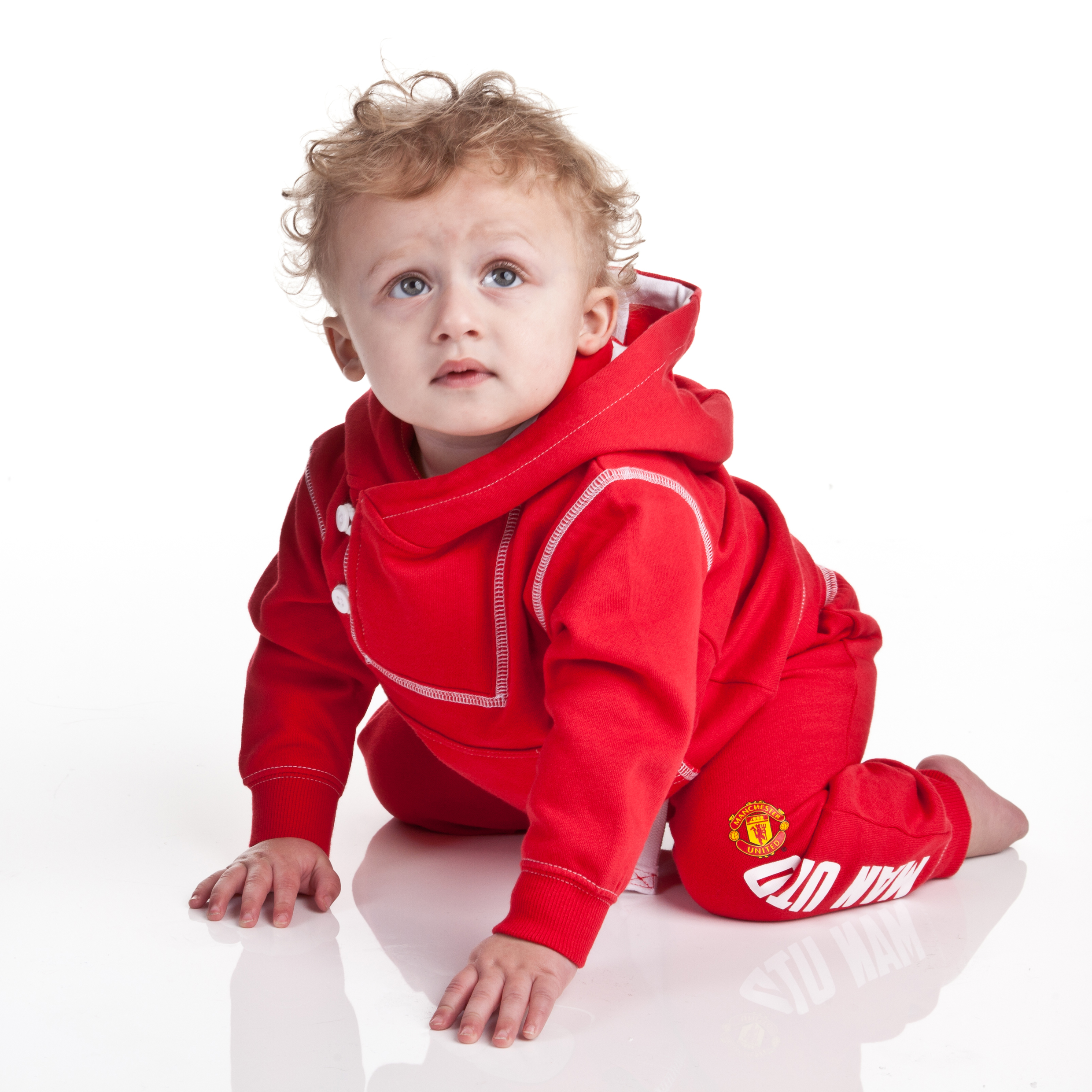 Manchester United Hooded Jog Suit - Red - Baby Boys