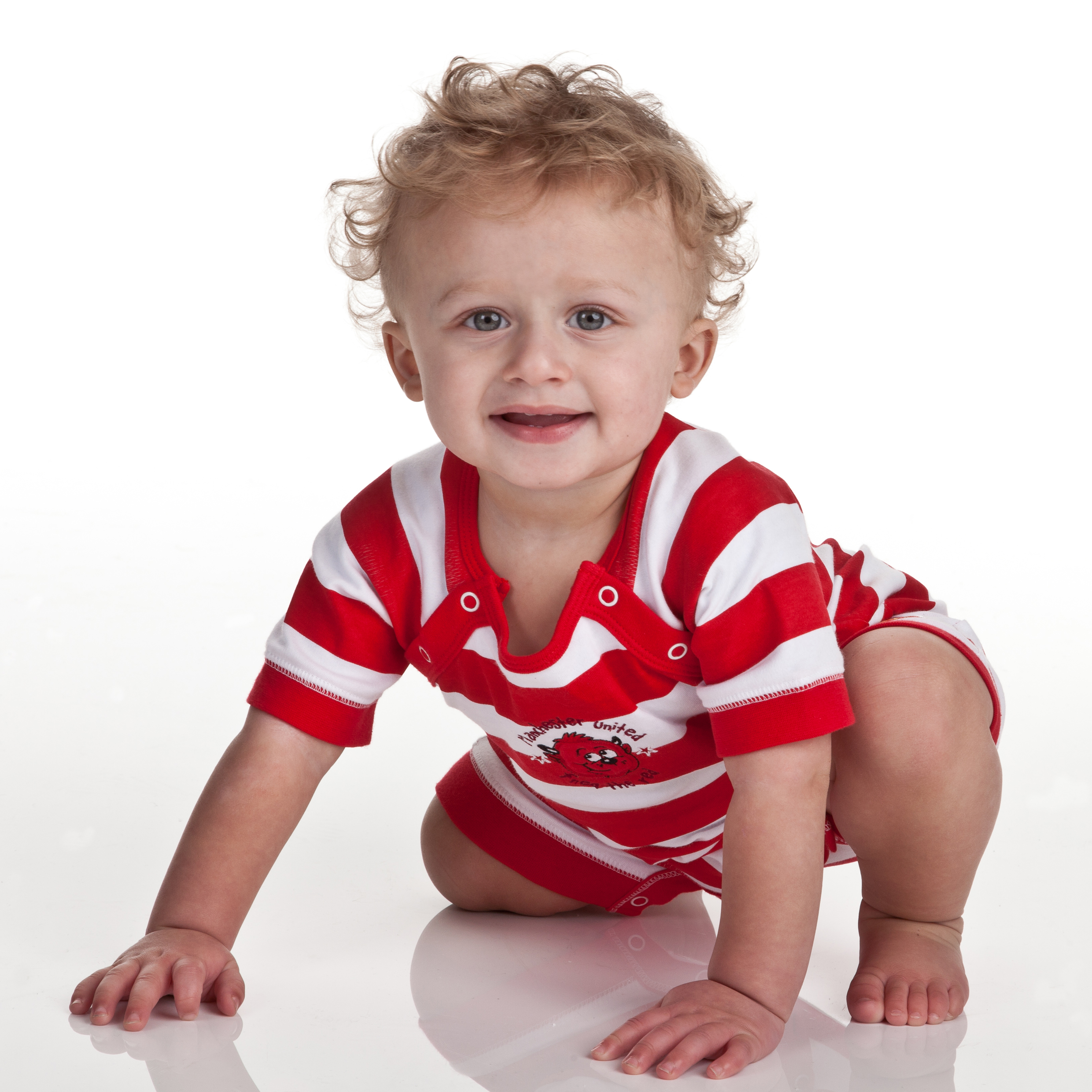 Manchester United Striped Fred The Red Romper - Red/White - Baby Boys