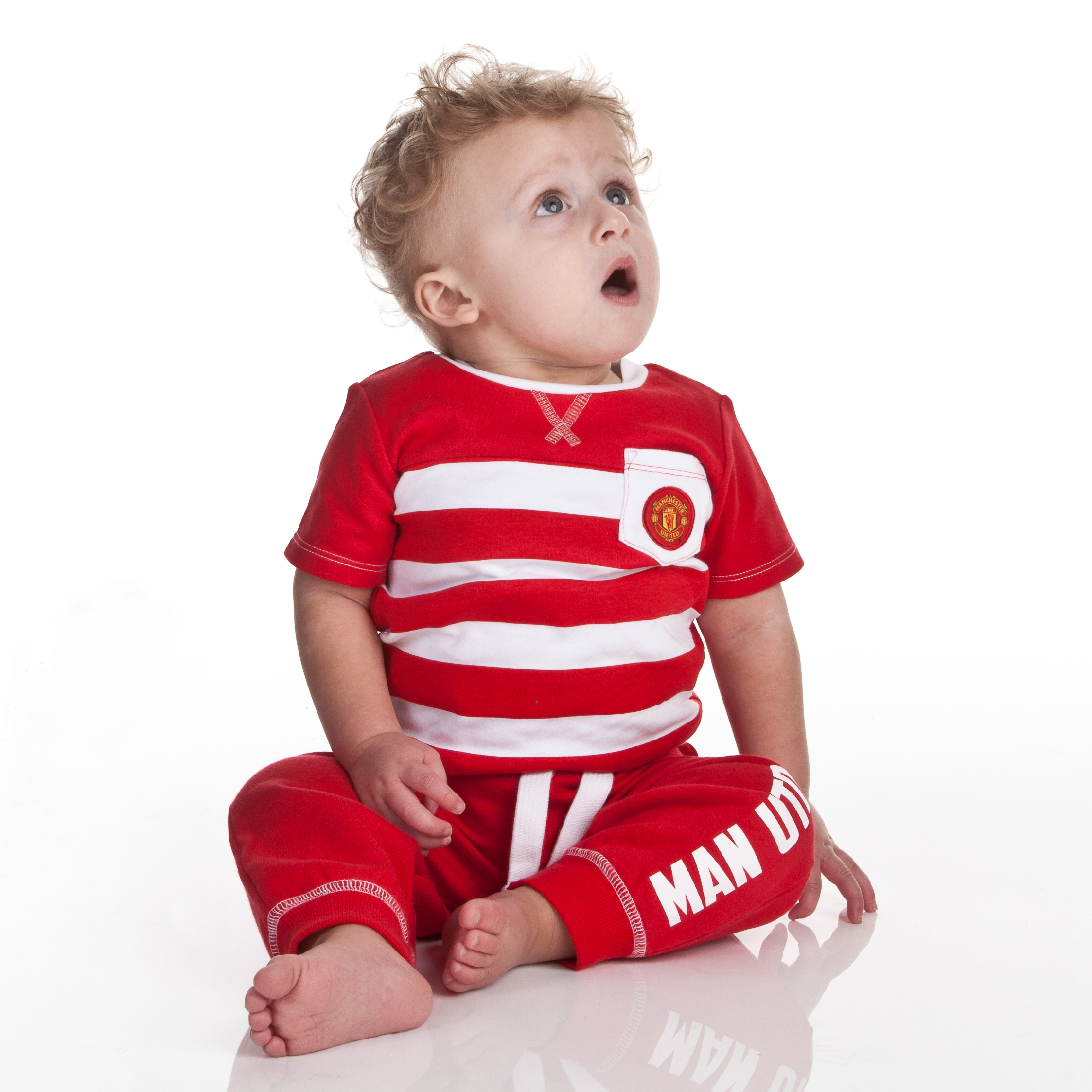 Manchester United Striped Pocket T-Shirt - Red/White - Baby Boys