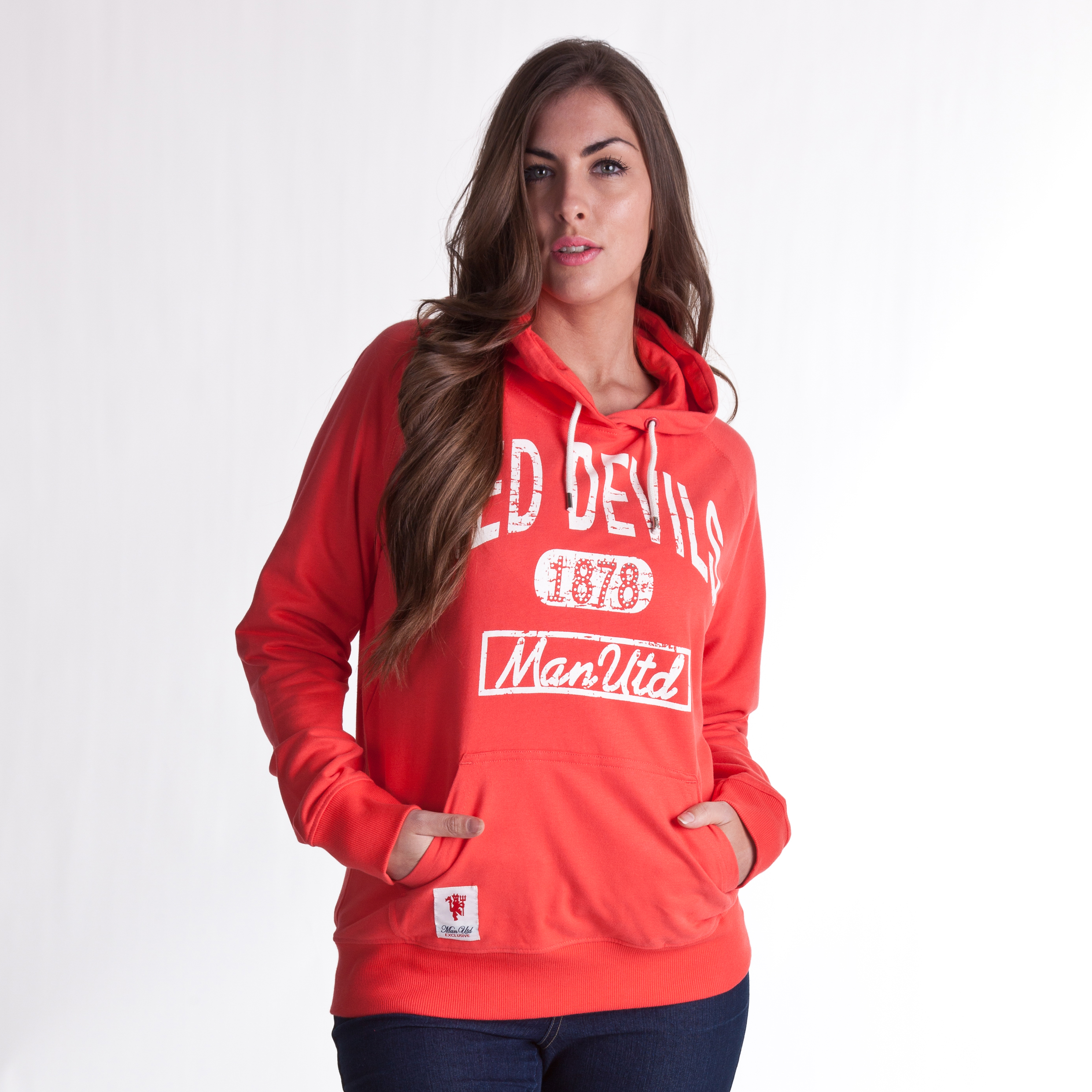 Manchester United Red Devils Diamante Hoody - Hibiscus - Womens