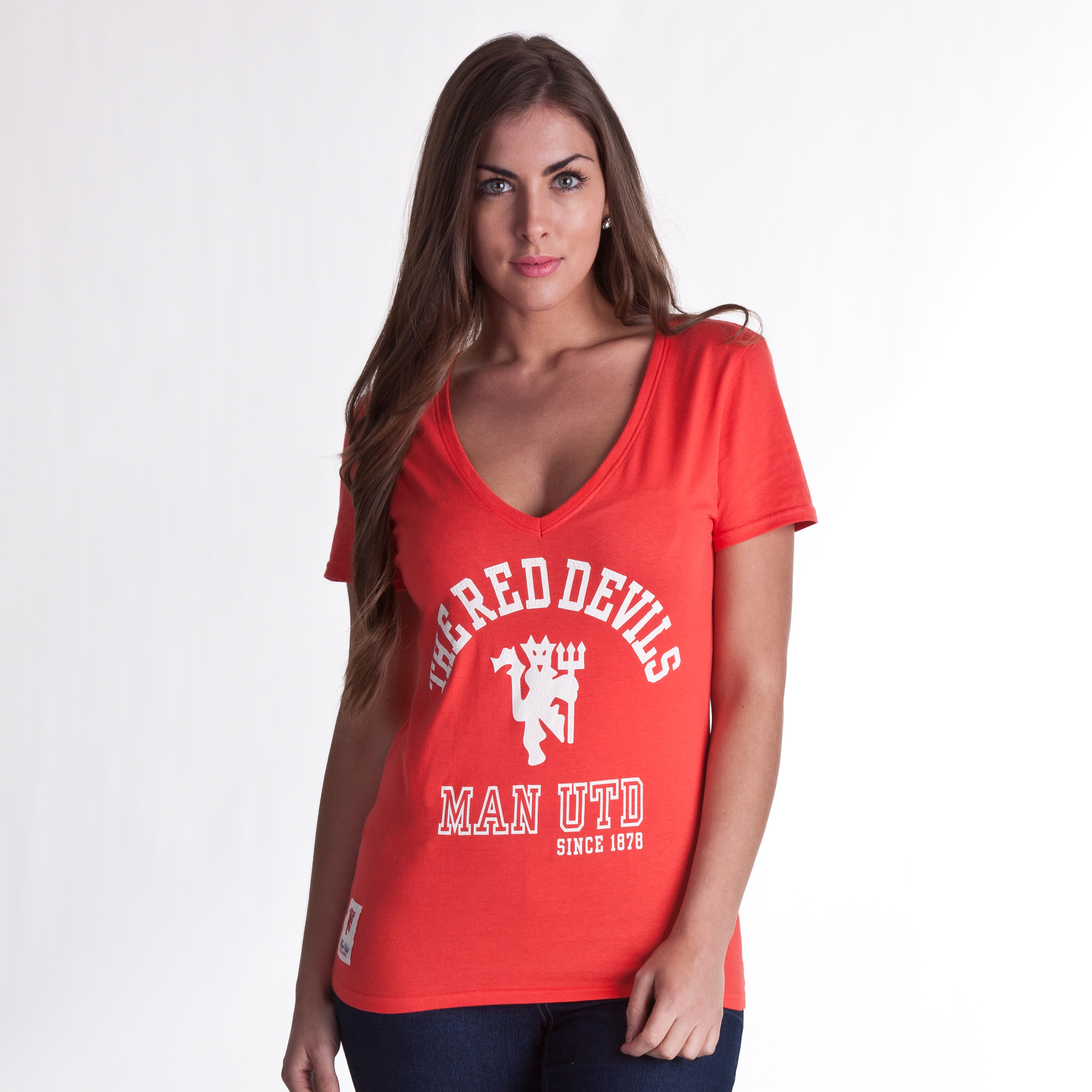 Manchester United Red Devils V Neck T-Shirt - Hibiscus - Womens