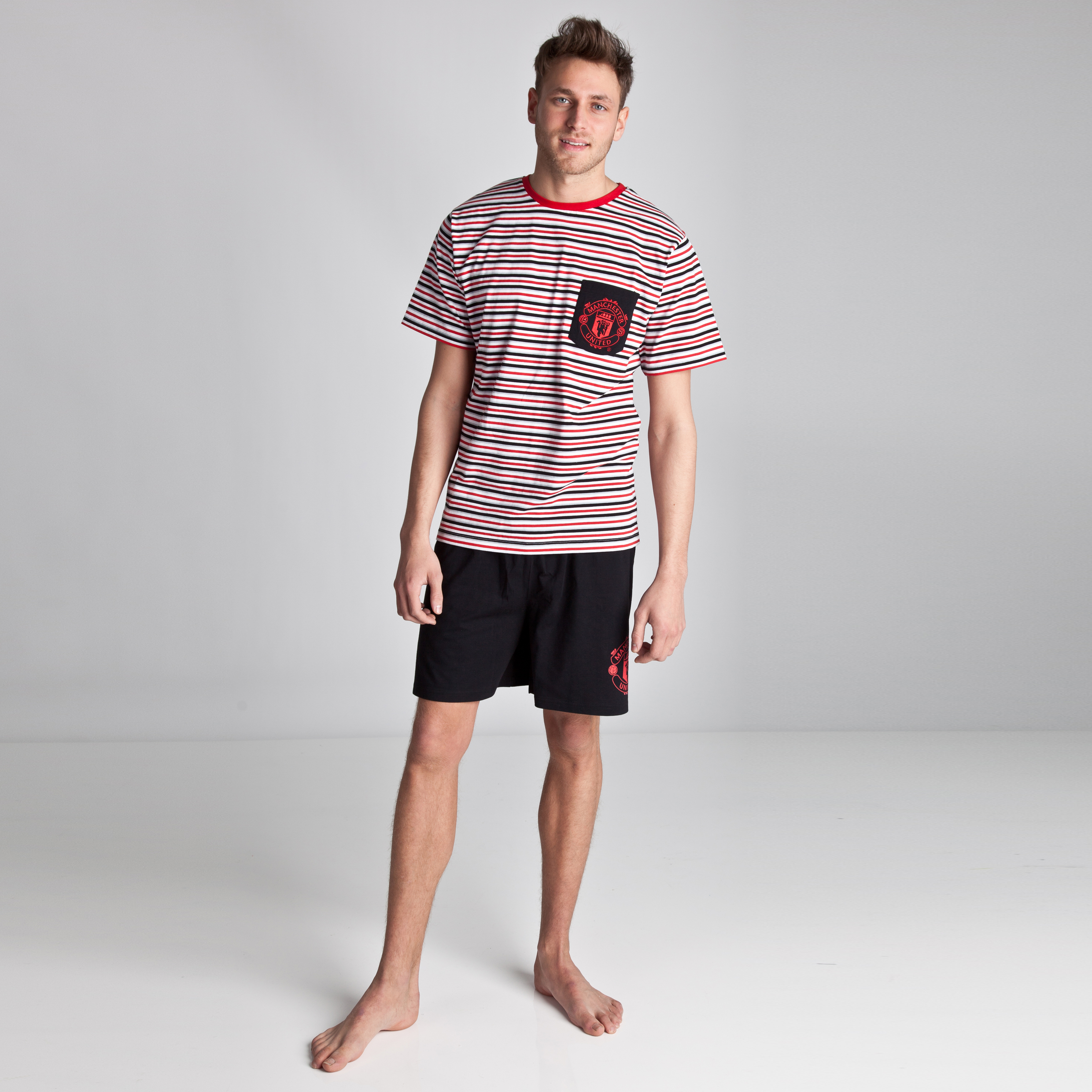 Manchester United Striped Shortie Pyjamas - Black/Red/White - Mens