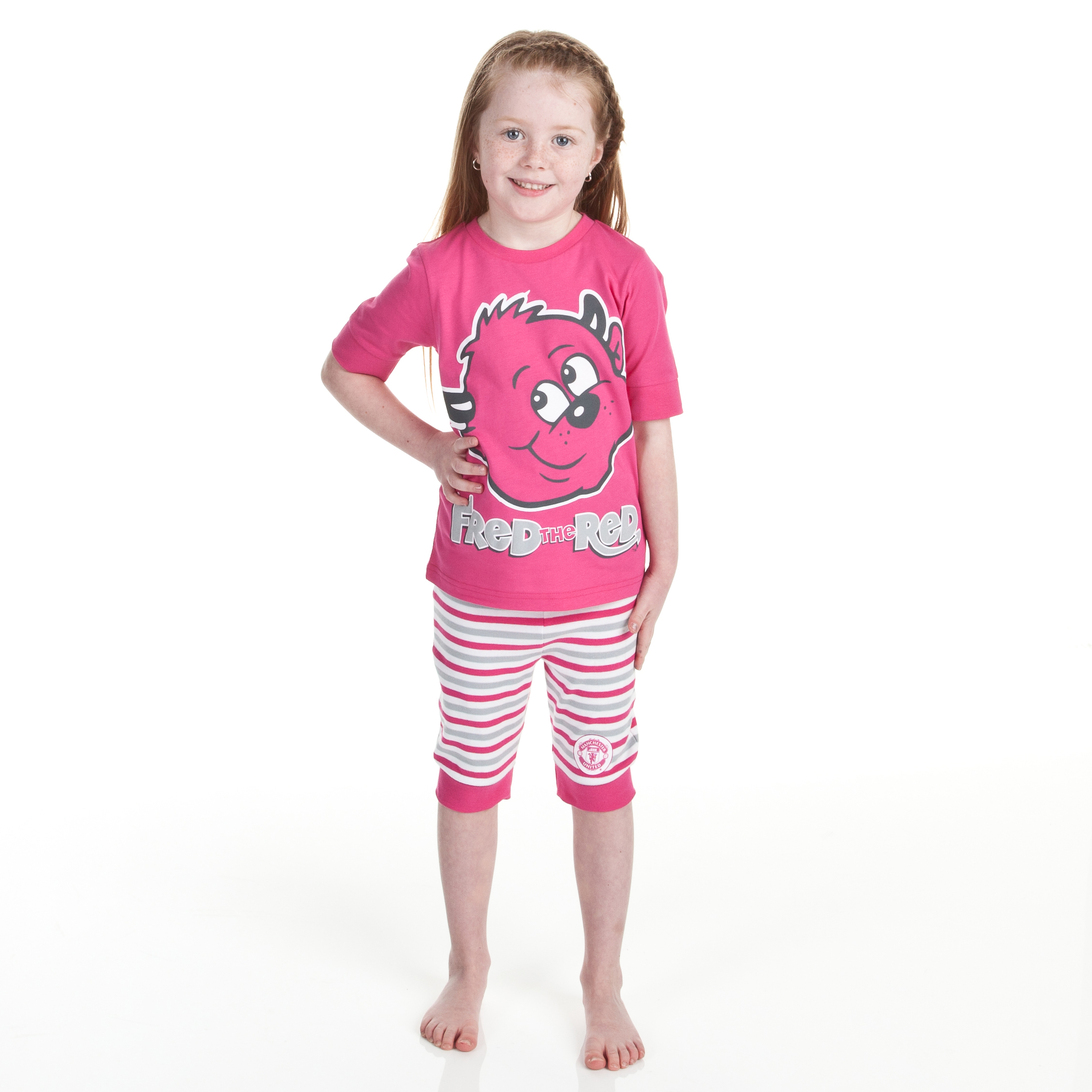 Manchester United Fred The Red Snuggle Fit Pyjamas - Cerise/Grey - Infant Girls
