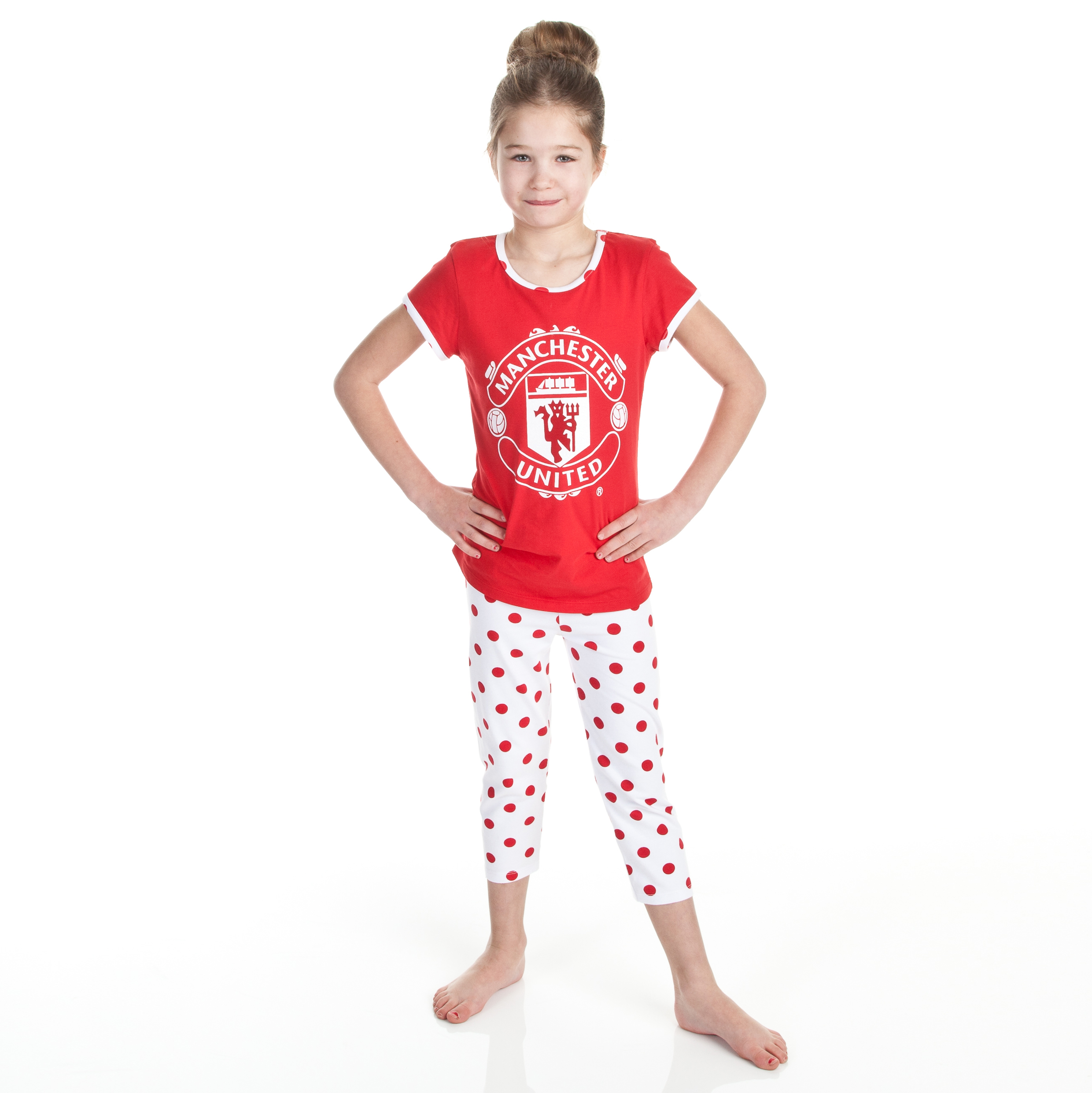 Manchester United Spotty Pyjamas - Red/White - Older Girls