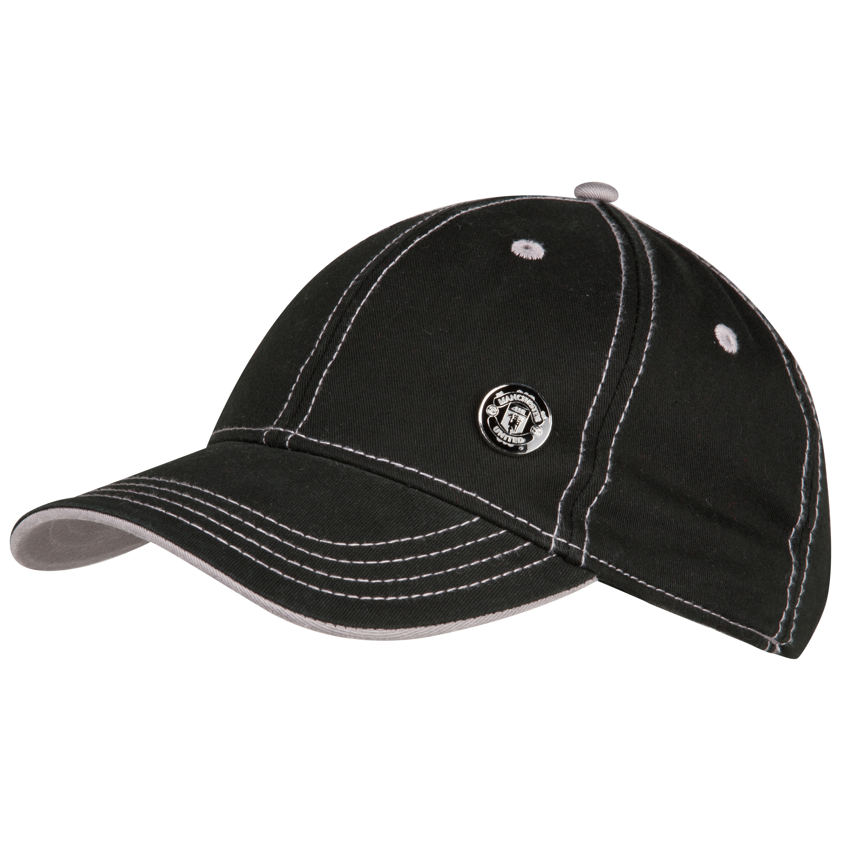 Manchester United Mono Crest Baseball Cap - Black - Mens