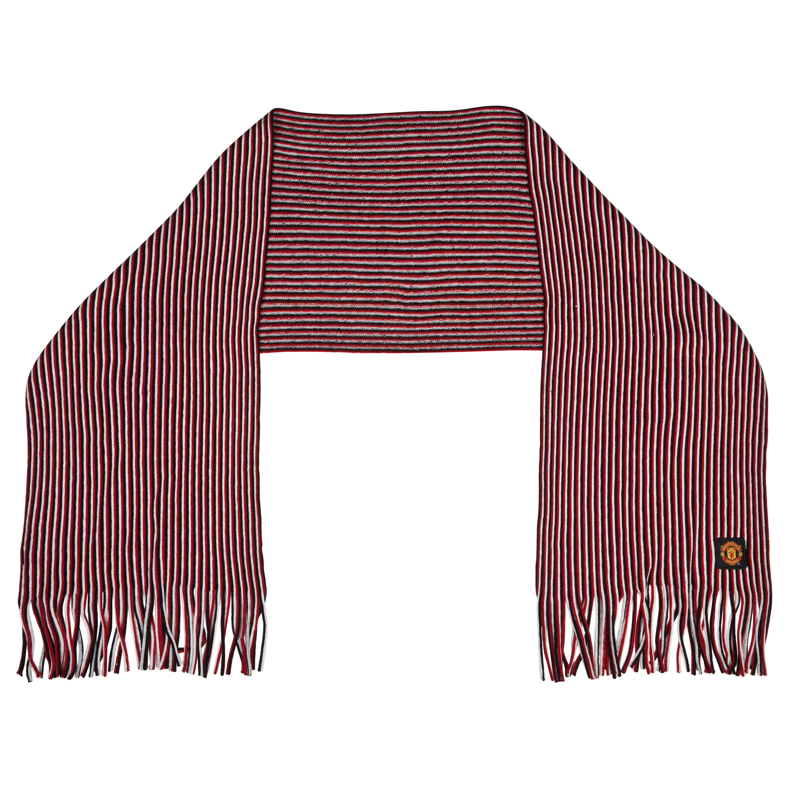 Manchester United Multi Stripe Fashion Scarf - Red - Adult