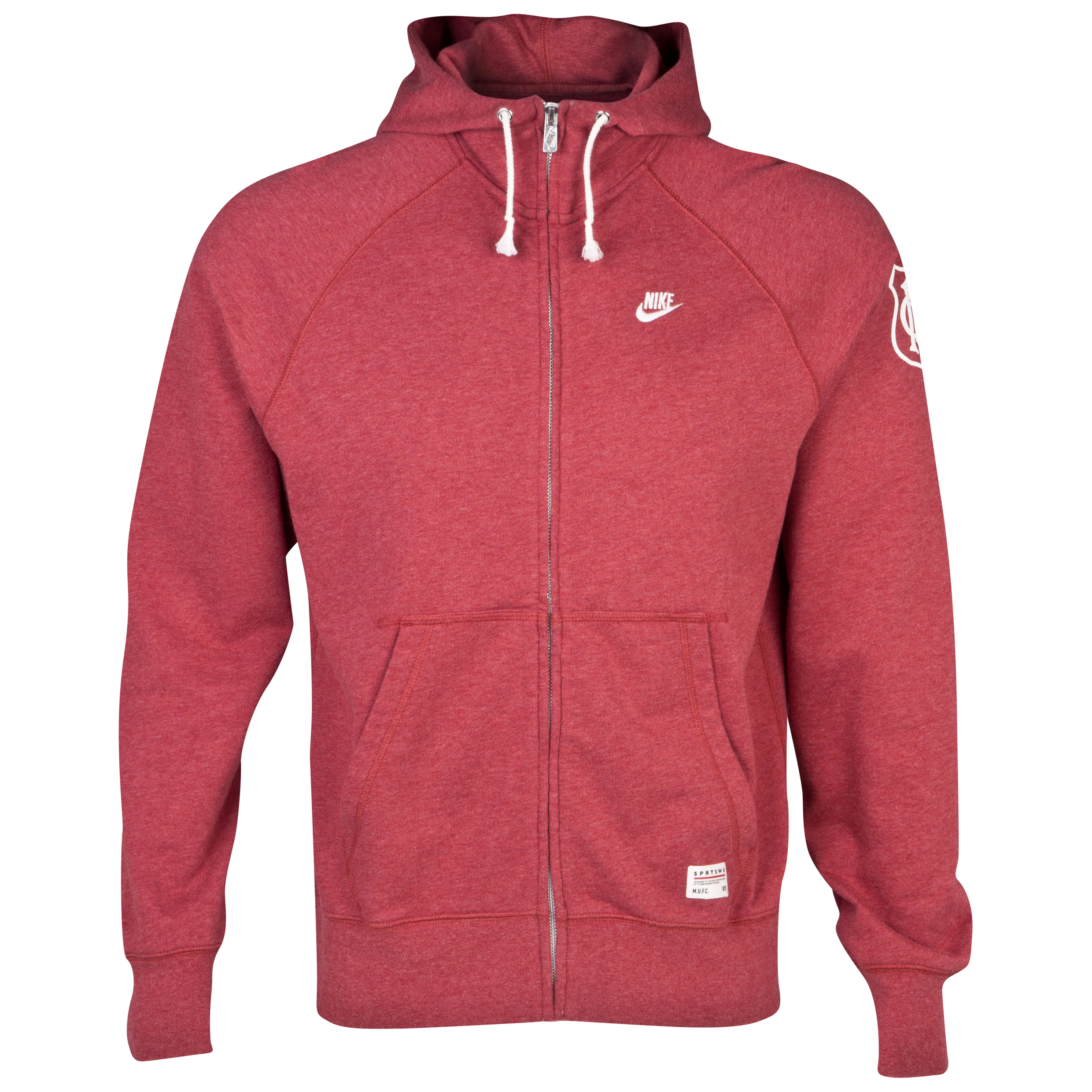Manchester United Vintage AW77 Full Zip Hooded Top - Light Gym Red Heather/Sail