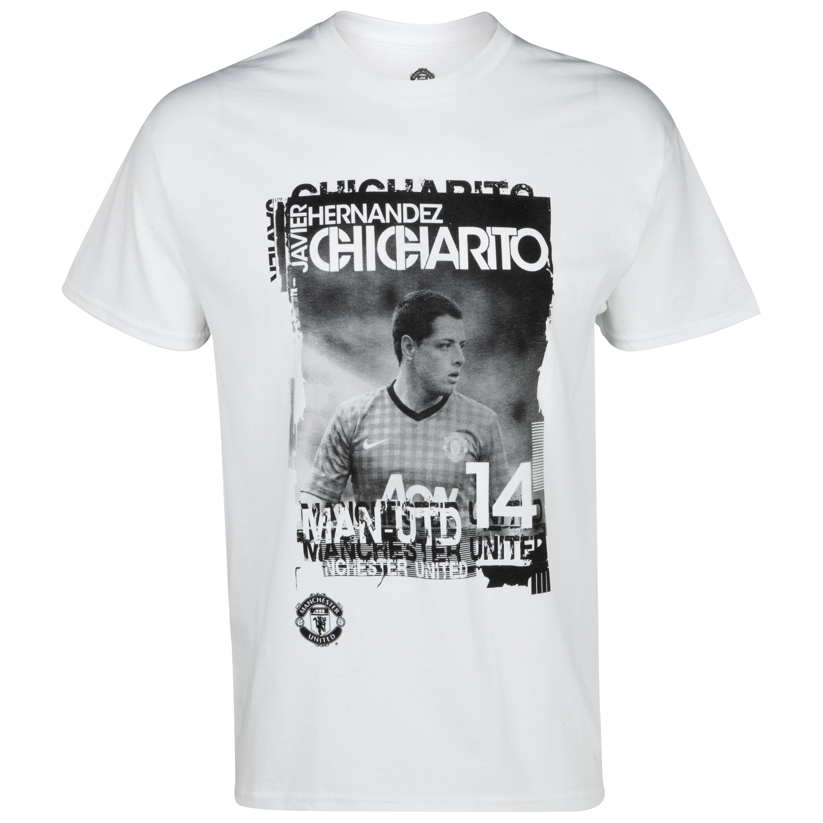 Manchester United Chicharito Photo Graphic T-Shirt - White - Mens