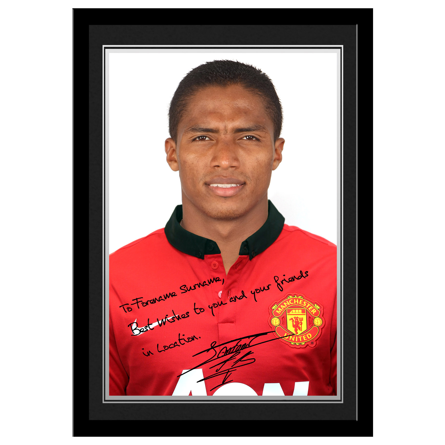 Manchester United Personalised Signature Photo Framed - Valencia