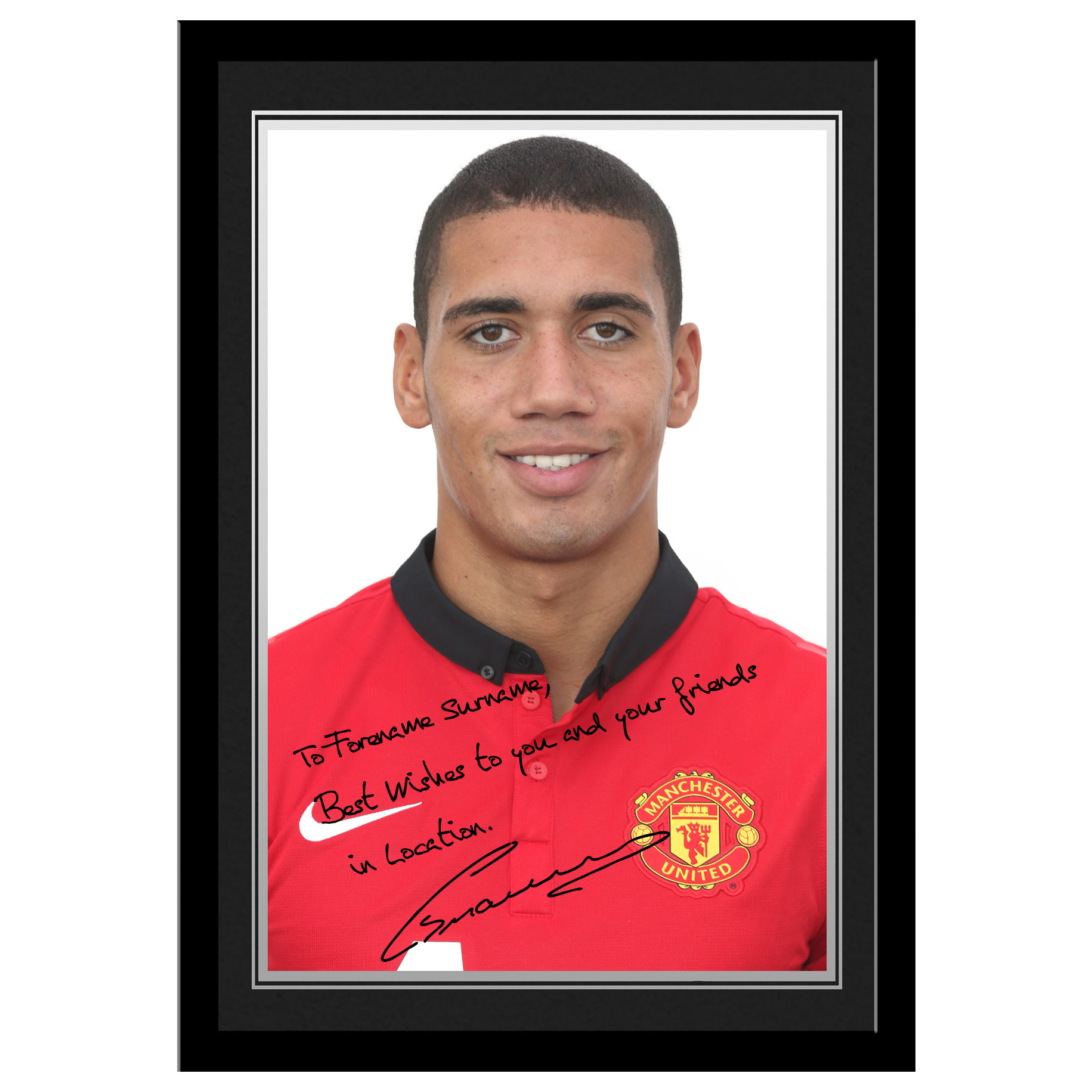 Manchester United Personalised Signature Photo Framed  - Smalling