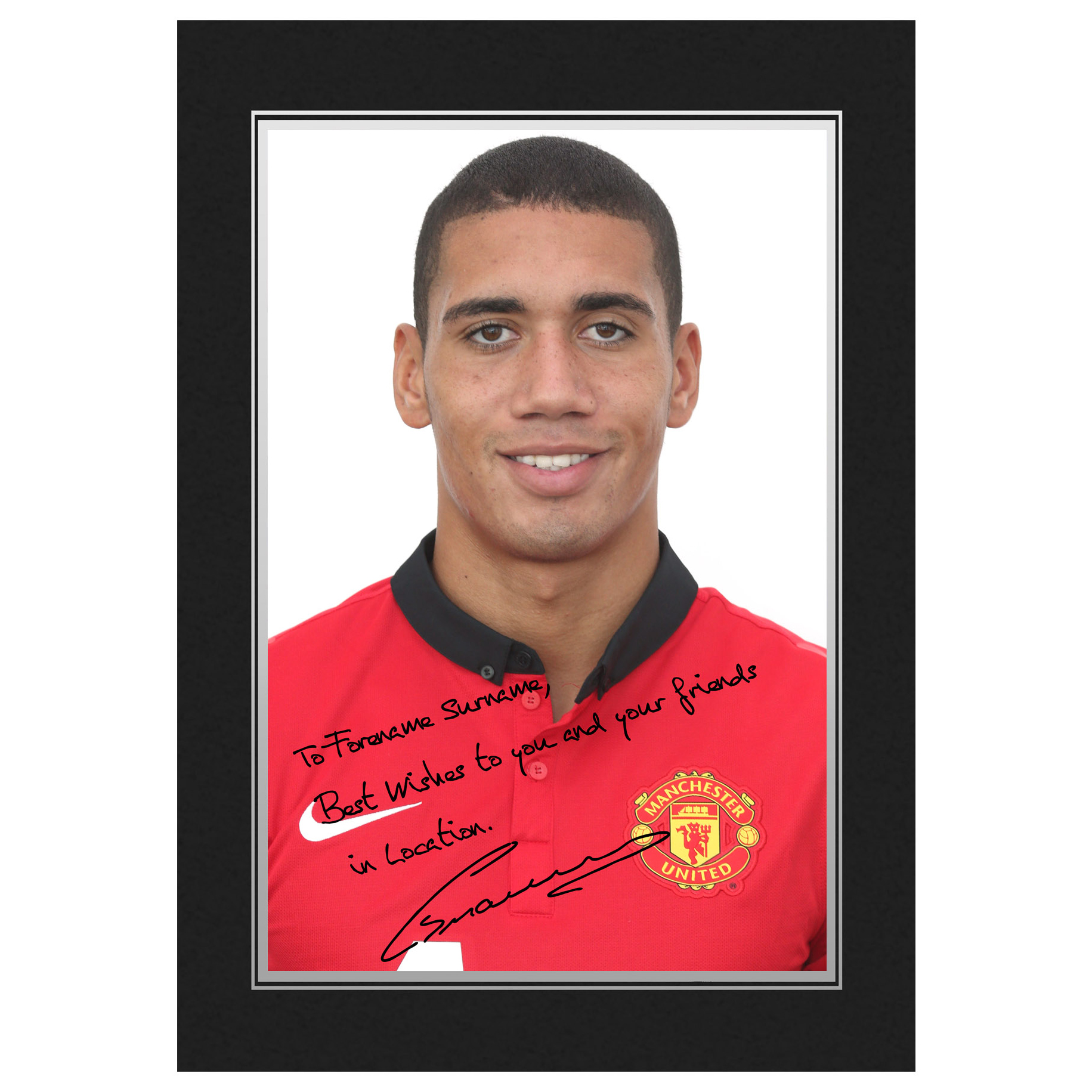 Manchester United Personalised Signature Photo in Presentation Folder - Smalling