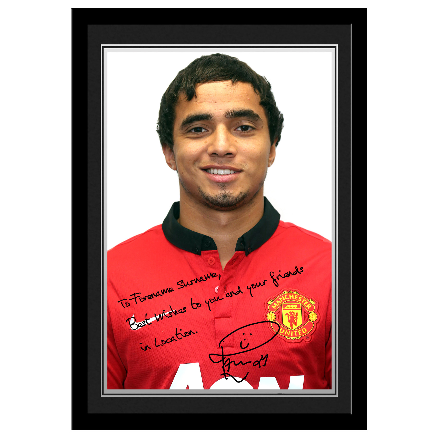 Manchester United Personalised Signature Photo Framed - Rafael