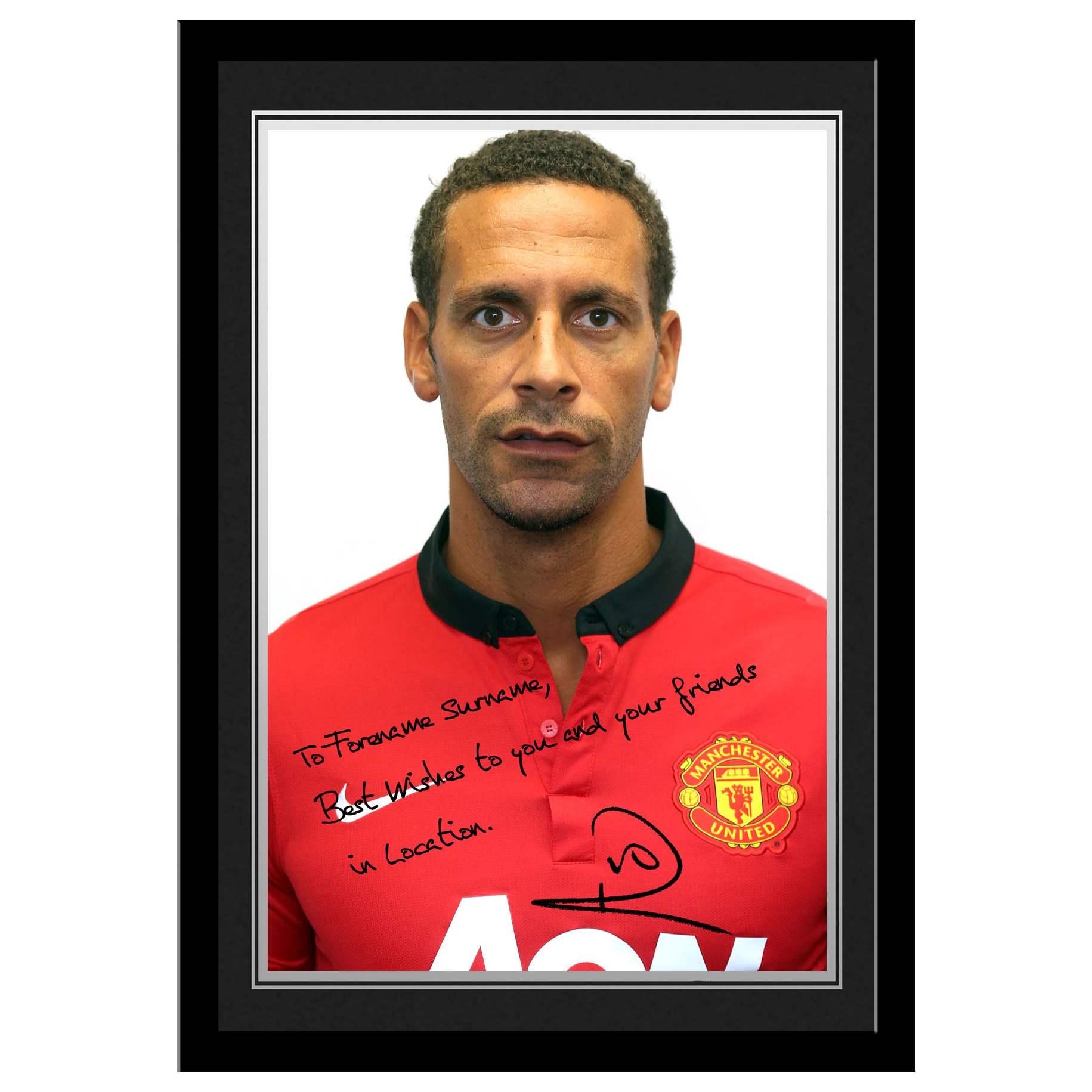 Manchester United Personalised Signature Photo Framed - Ferdinand