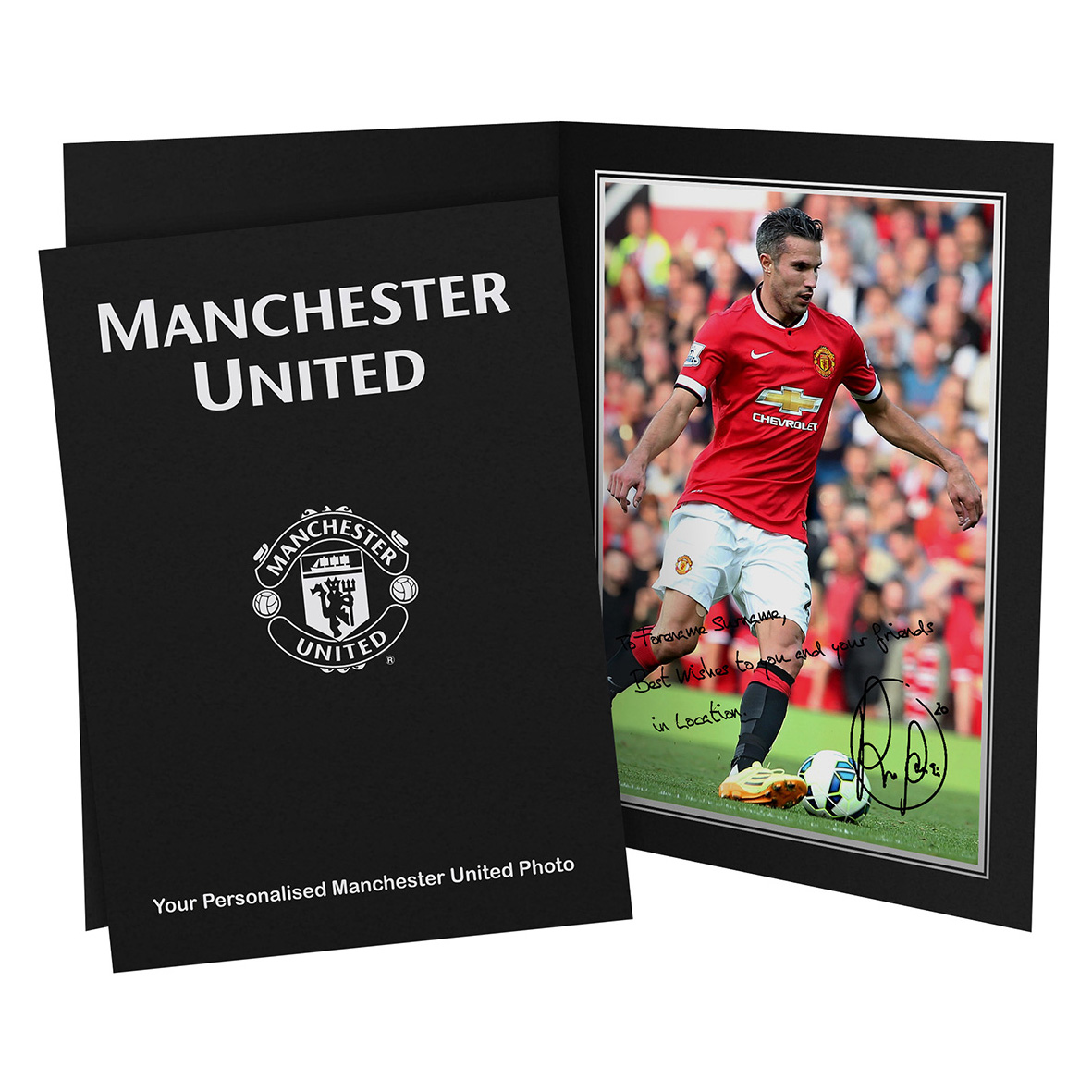 Manchester United Personalised Signature Photo in Presentation Folder - Van Persie