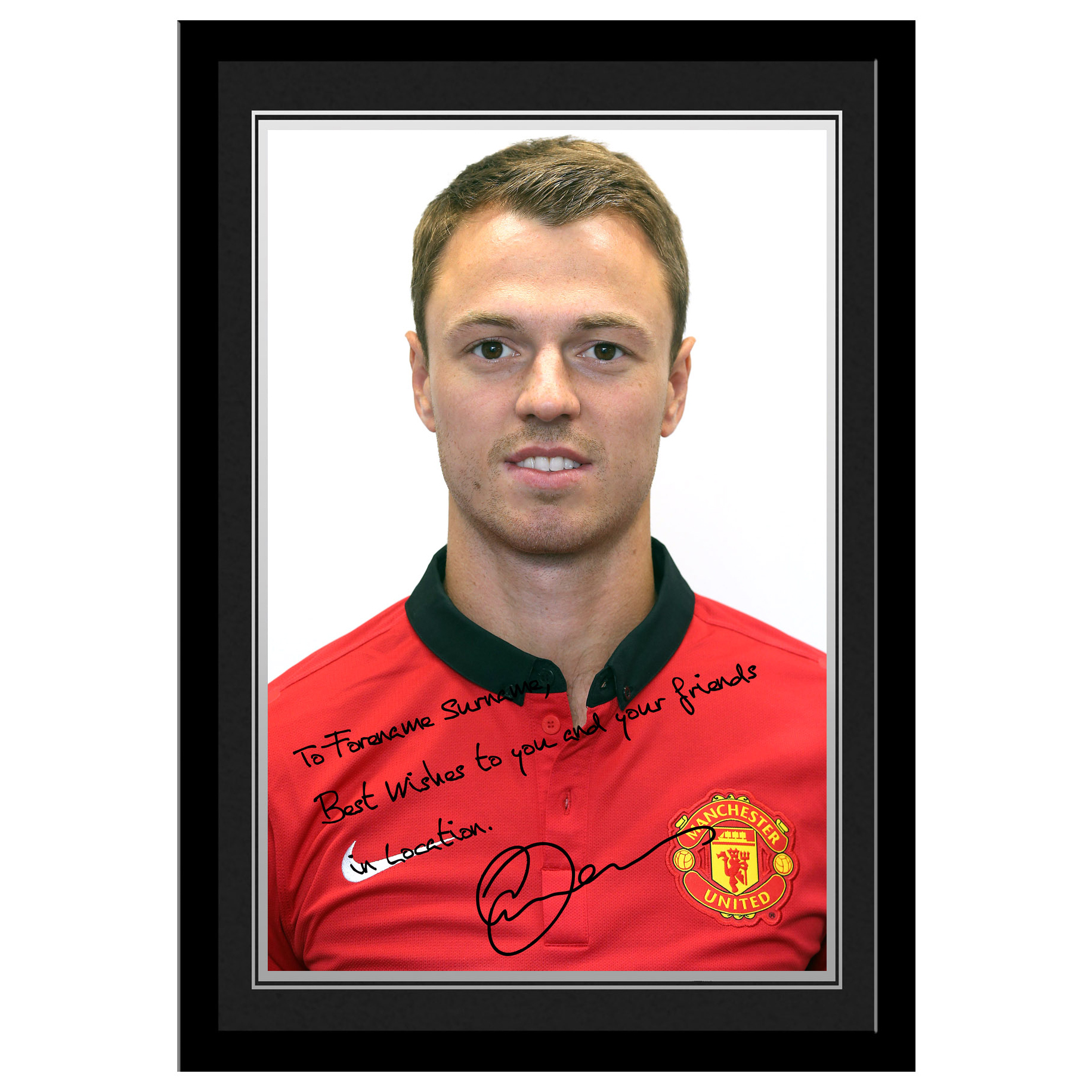 Manchester United Personalised Signature Photo Framed - Evans