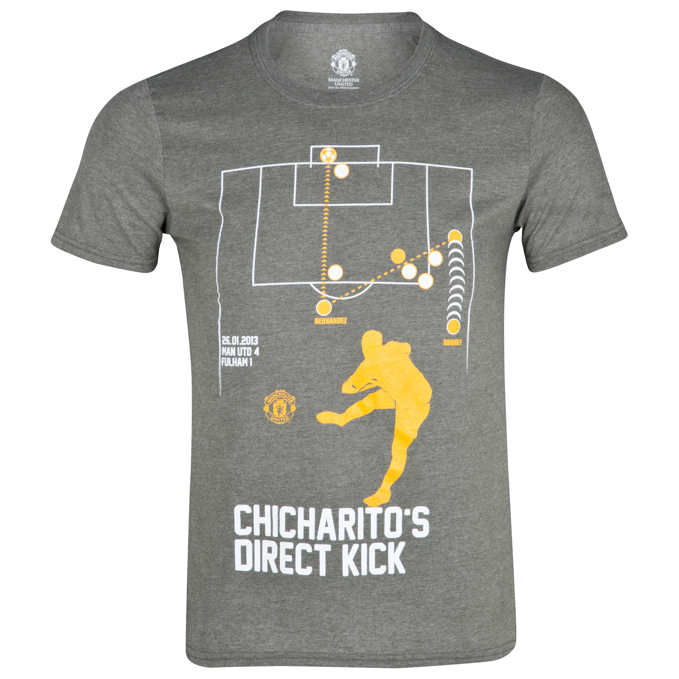 Manchester United Chicharitos Direct Kick Goal T-Shirt - Heather Military - Mens
