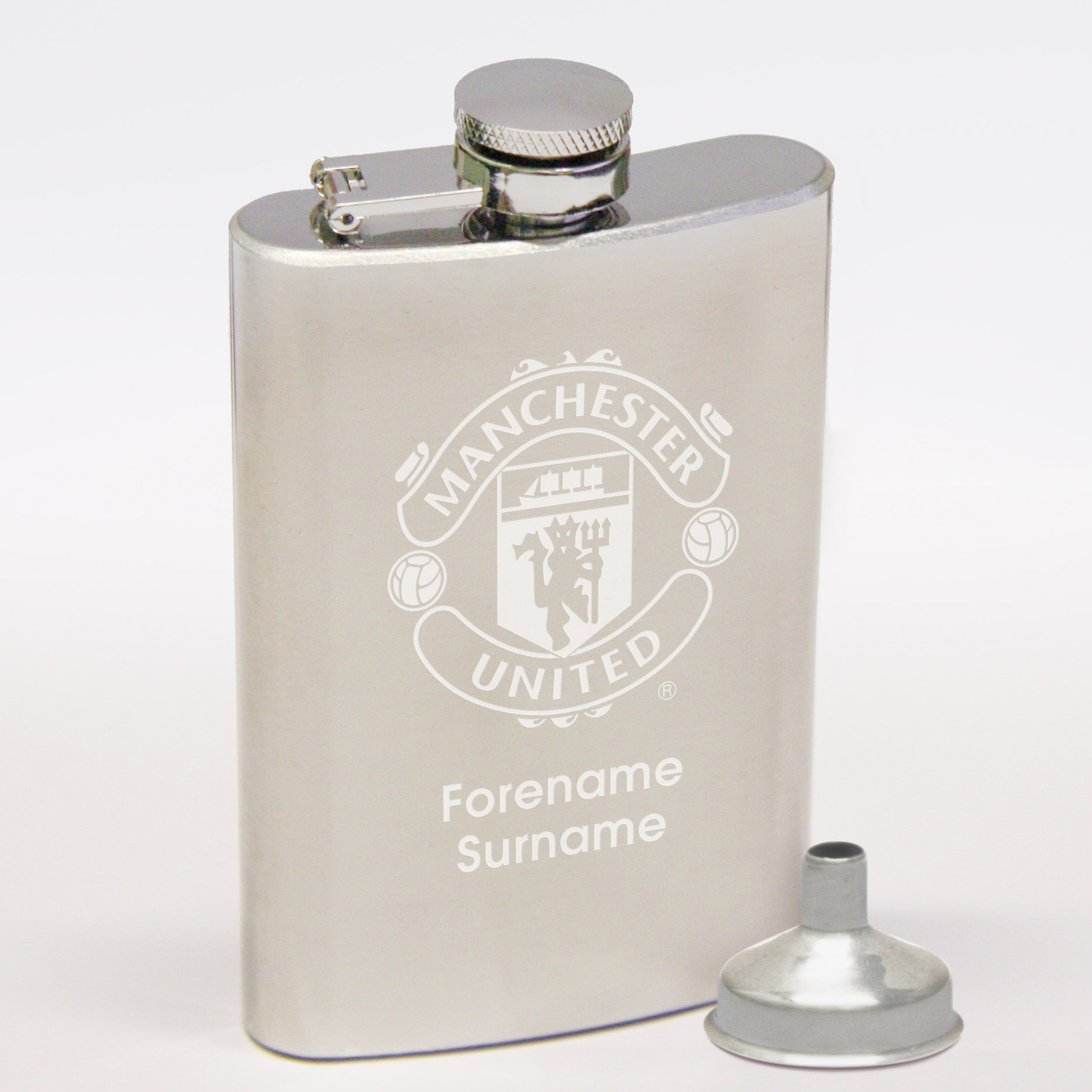 Manchester United Personalised Hipflask 6oz