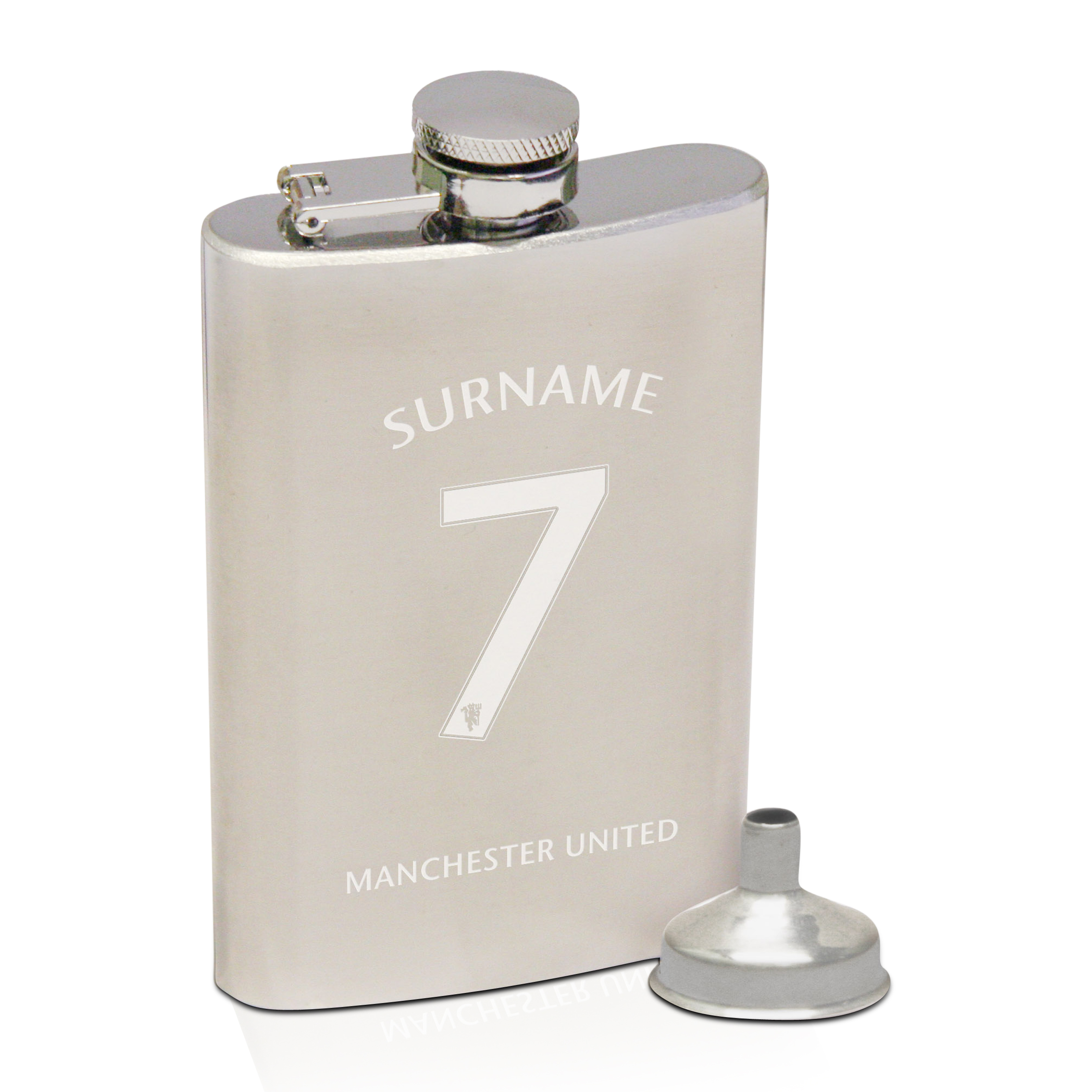 Manchester United Personalised Shirt Number Hip Flask 6oz