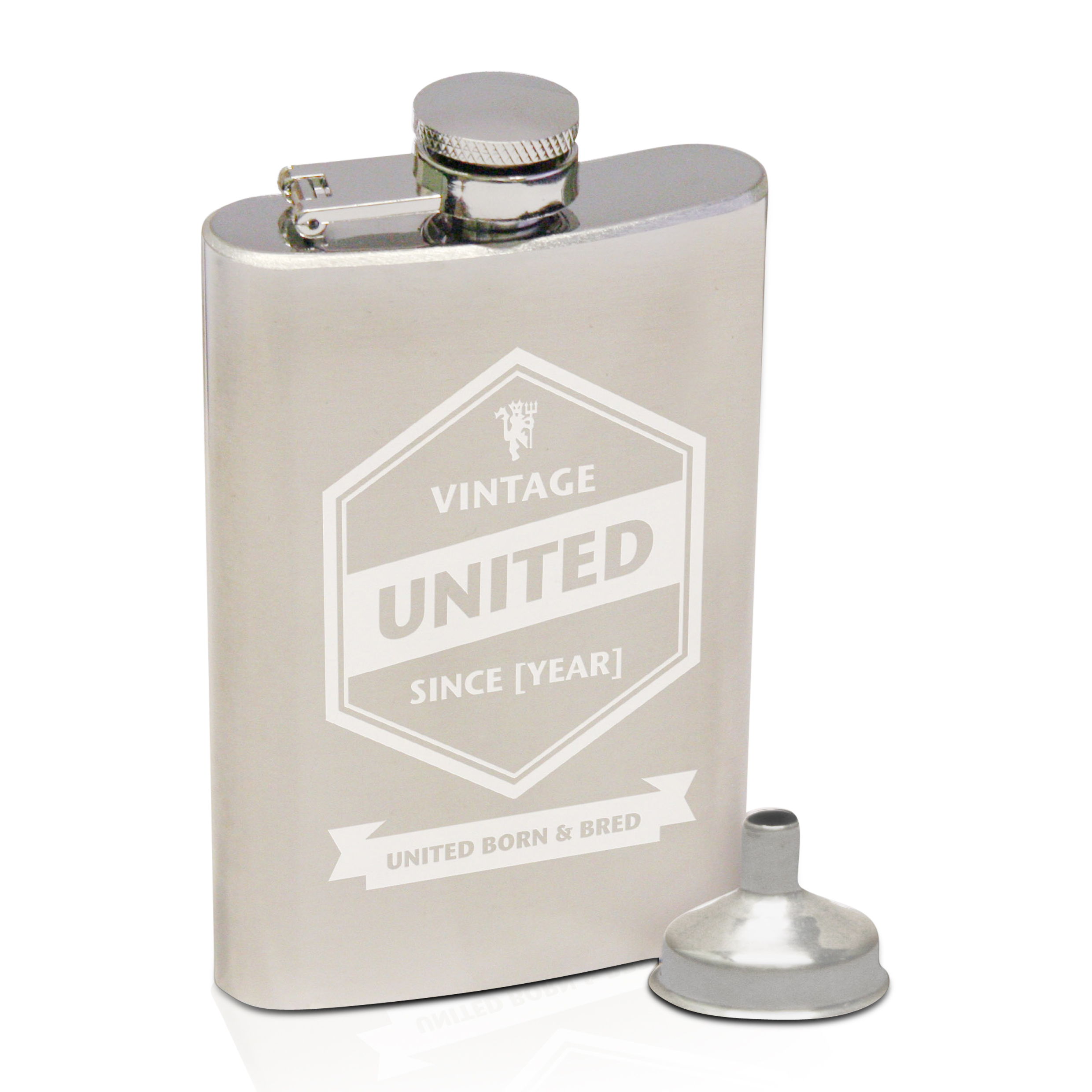 Manchester United Vintage Personalised Hip Flask 2oz