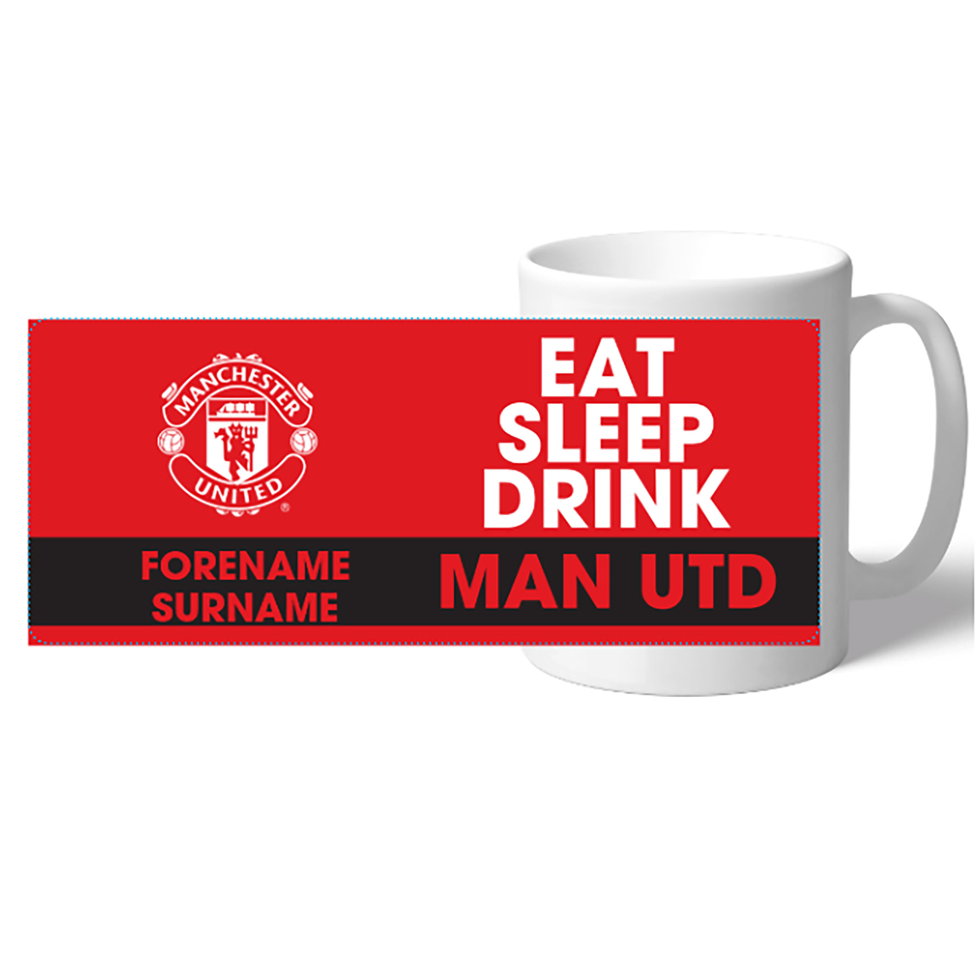 Manchester United Personalised Eat Sleep Drink Mug