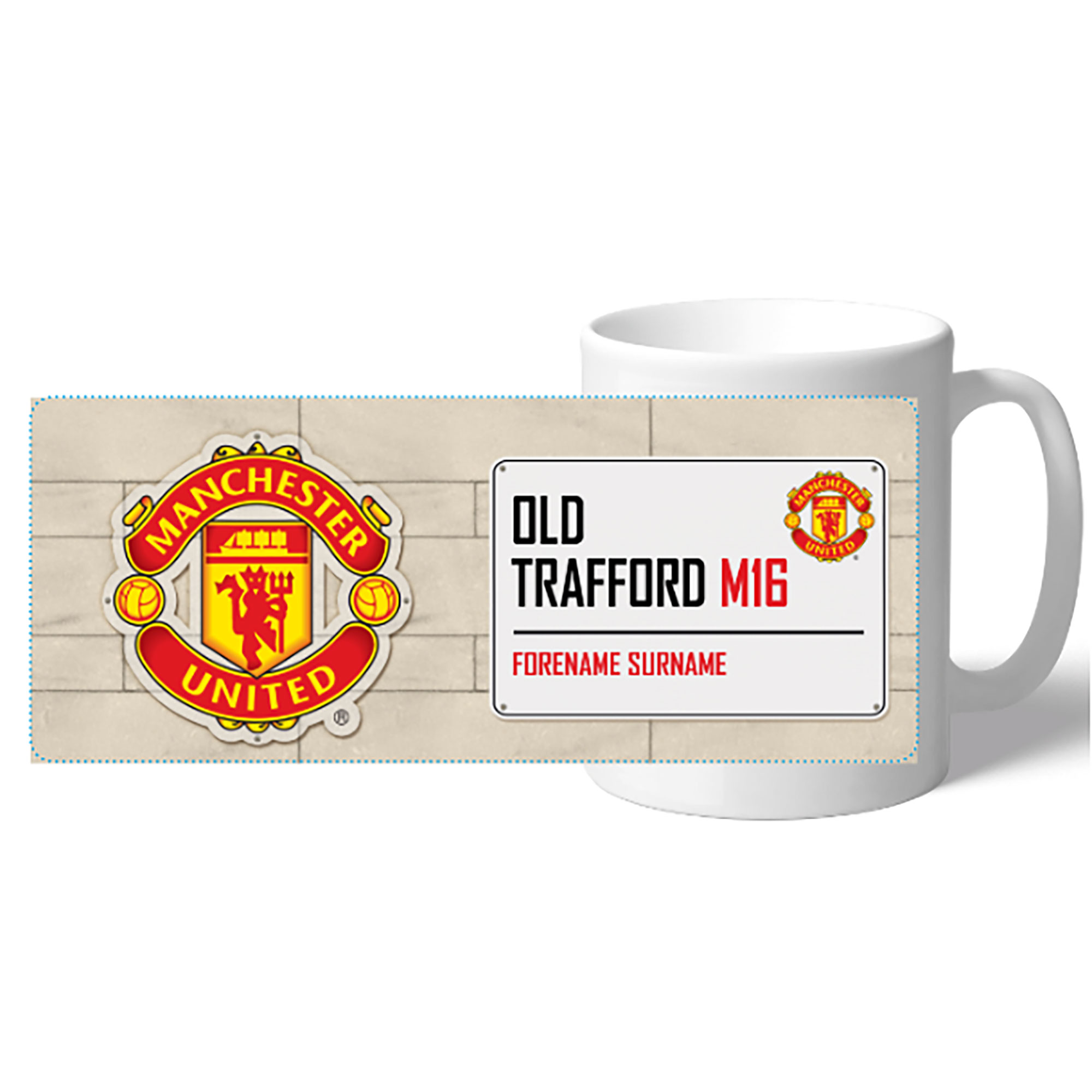 Manchester United Personalised Street Sign Mug