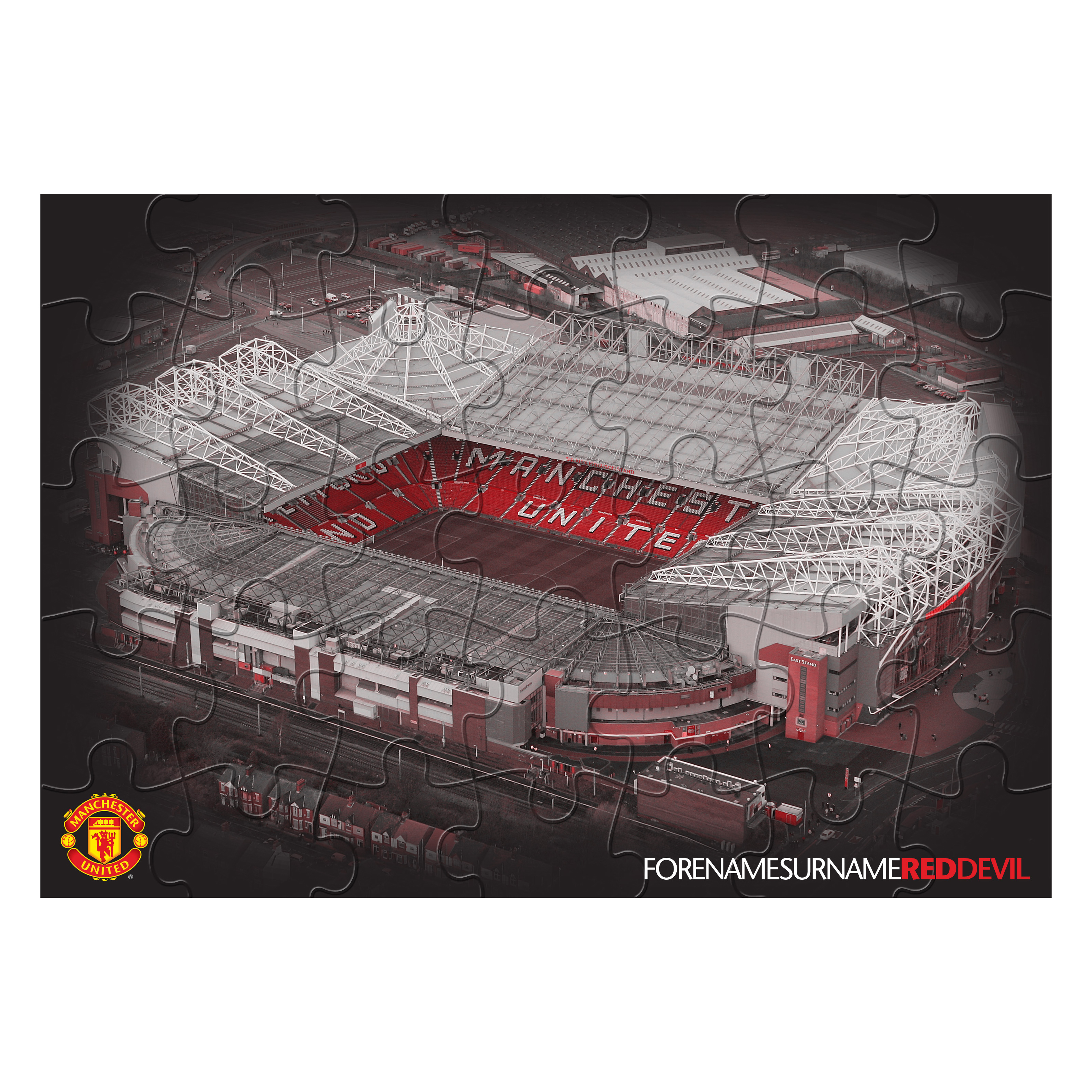 Manchester United Personalised Old Trafford Red Devils Jigsaw - Black