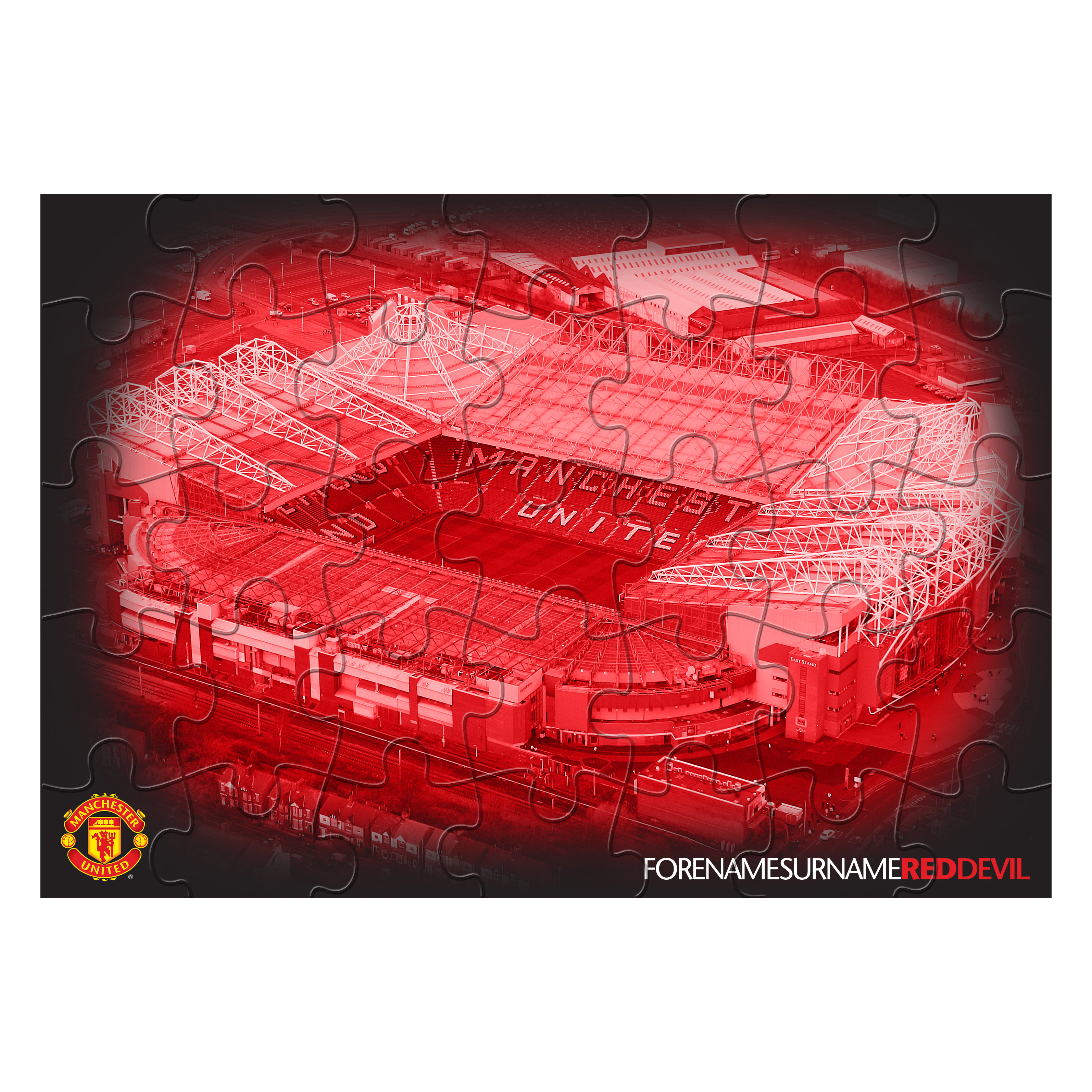 Manchester United Personalised Old Trafford Red Devils Jigsaw - Red
