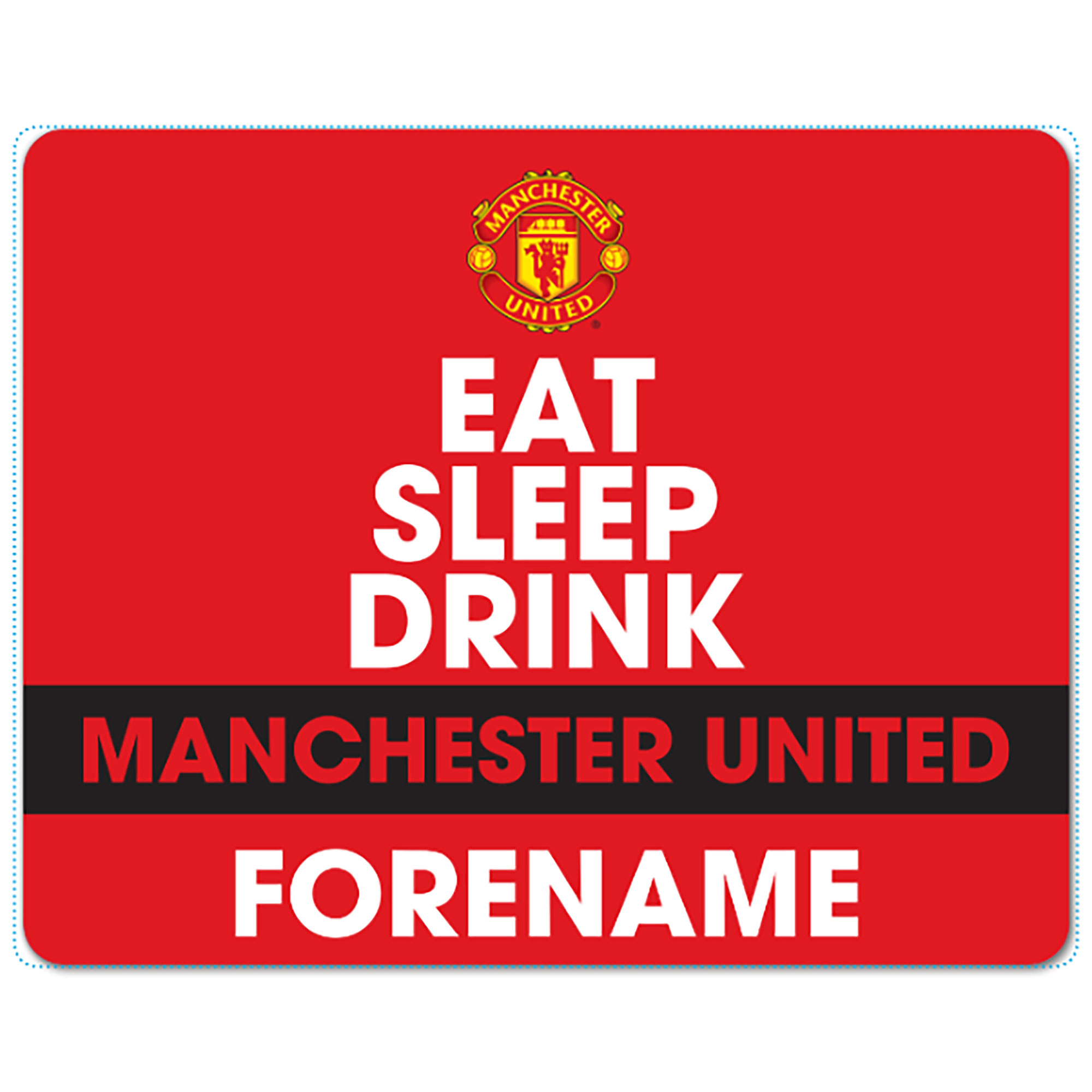 Manchester United Personalised Eat Sleep Drink Mouse Mat