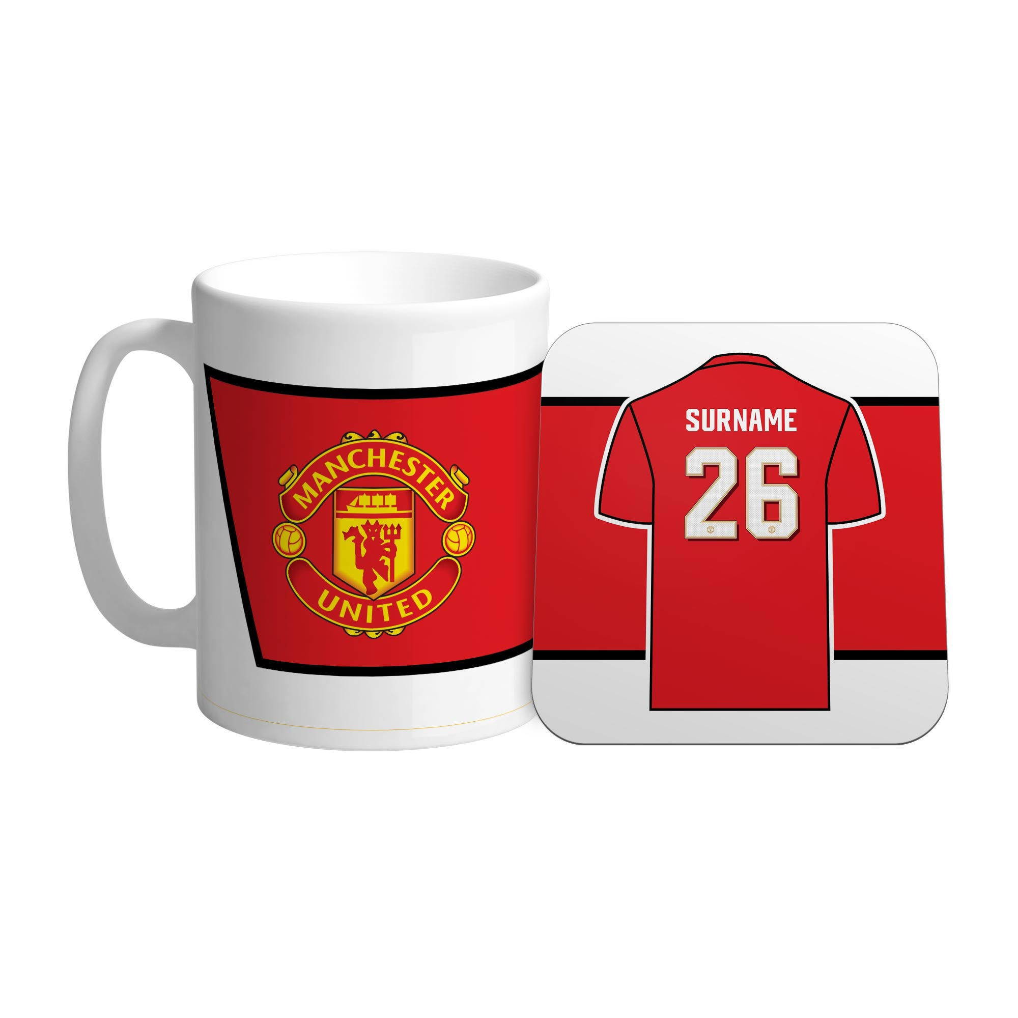 Ian Philipson Juego de taza y posavasos con número de camiseta personalizado del Manchester United Red