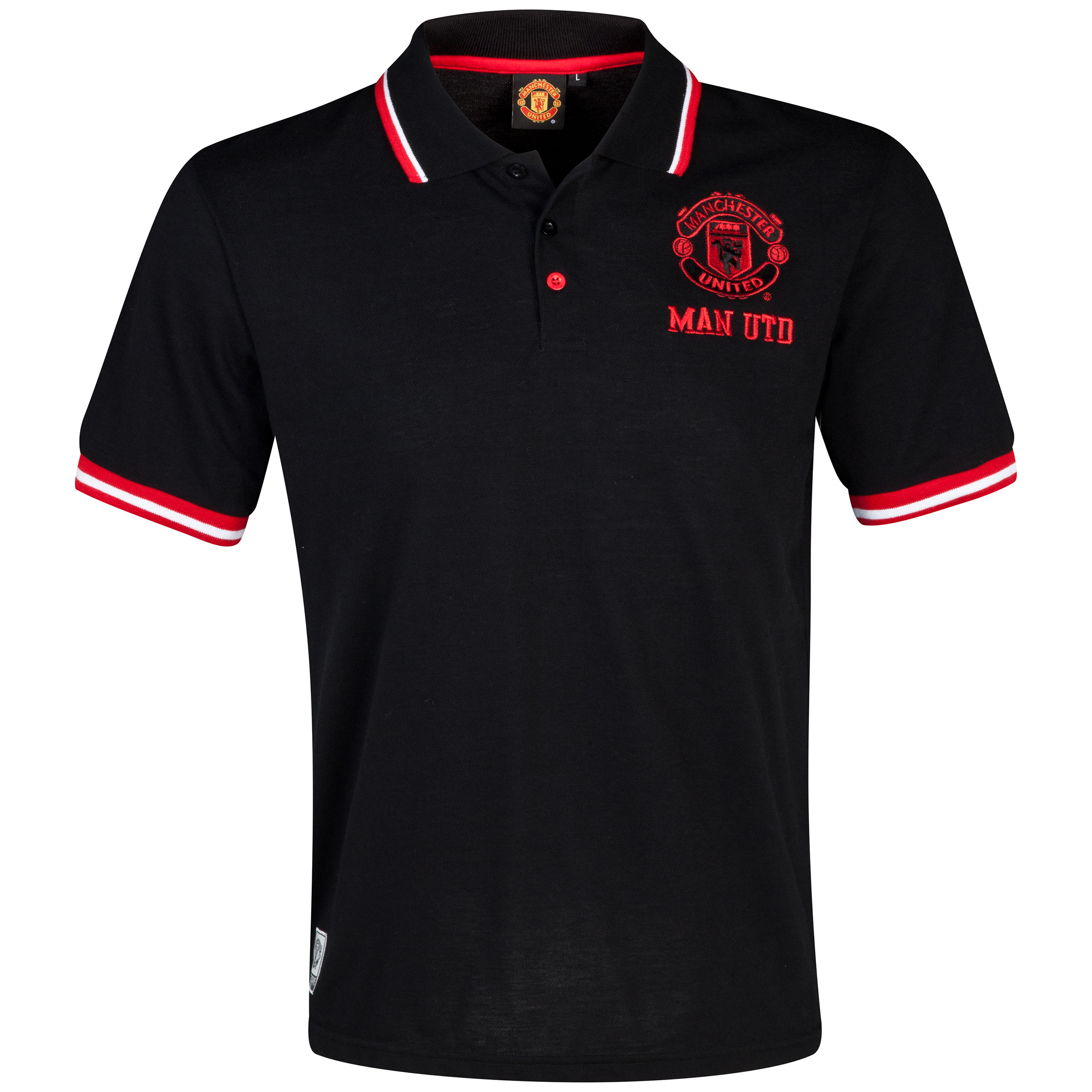 Manchester United Tipped Polo Shirt  - Mens Black