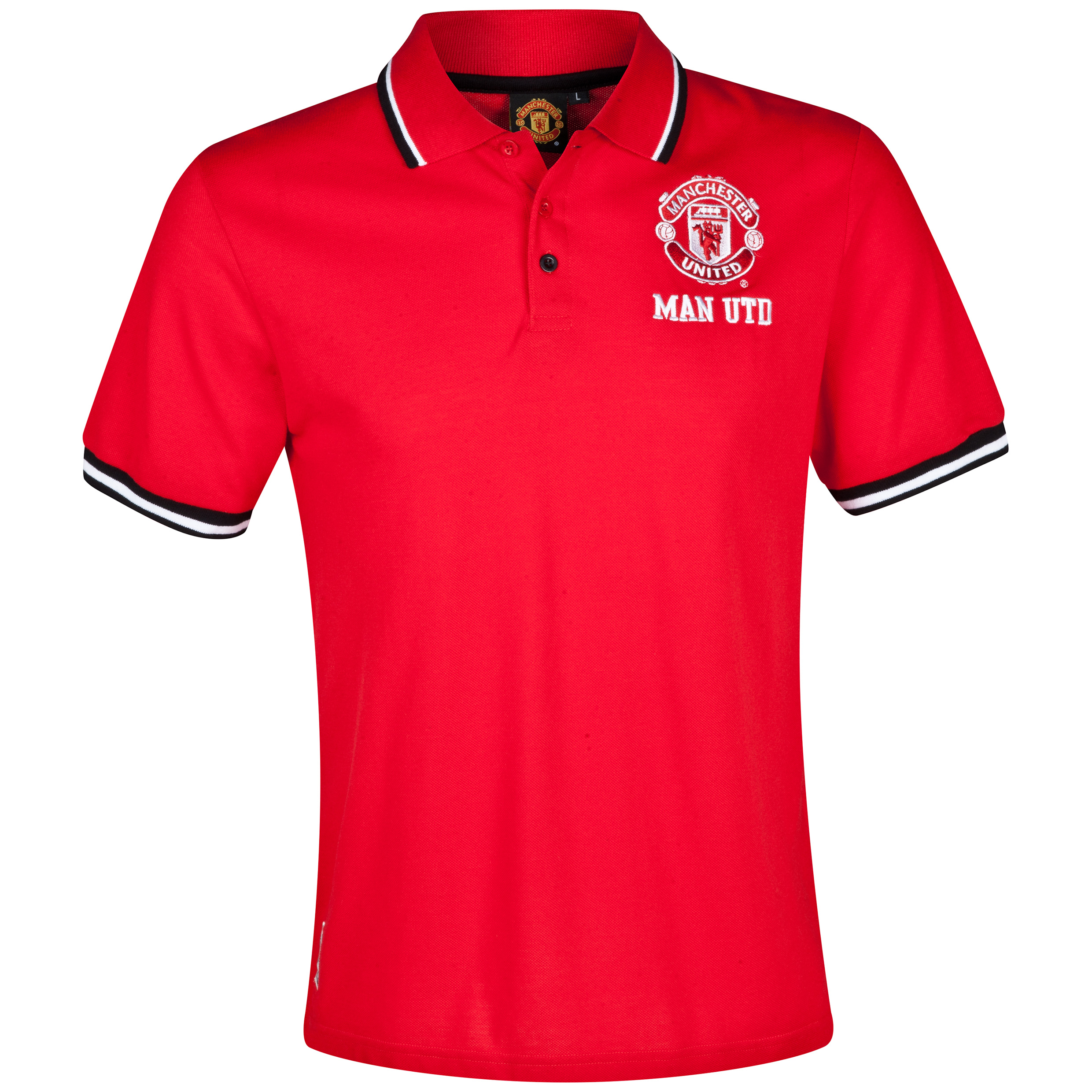 Manchester United Tipped Polo Shirt  - Mens Red