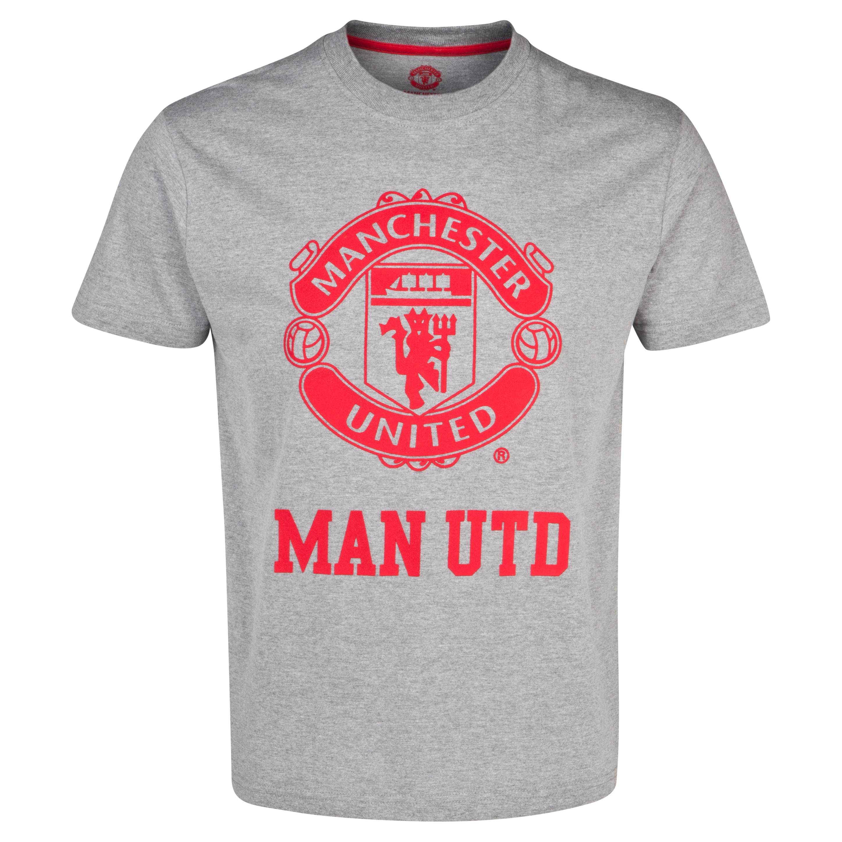 Manchester United Classic Flock Crest T-Shirt  - Mens Grey