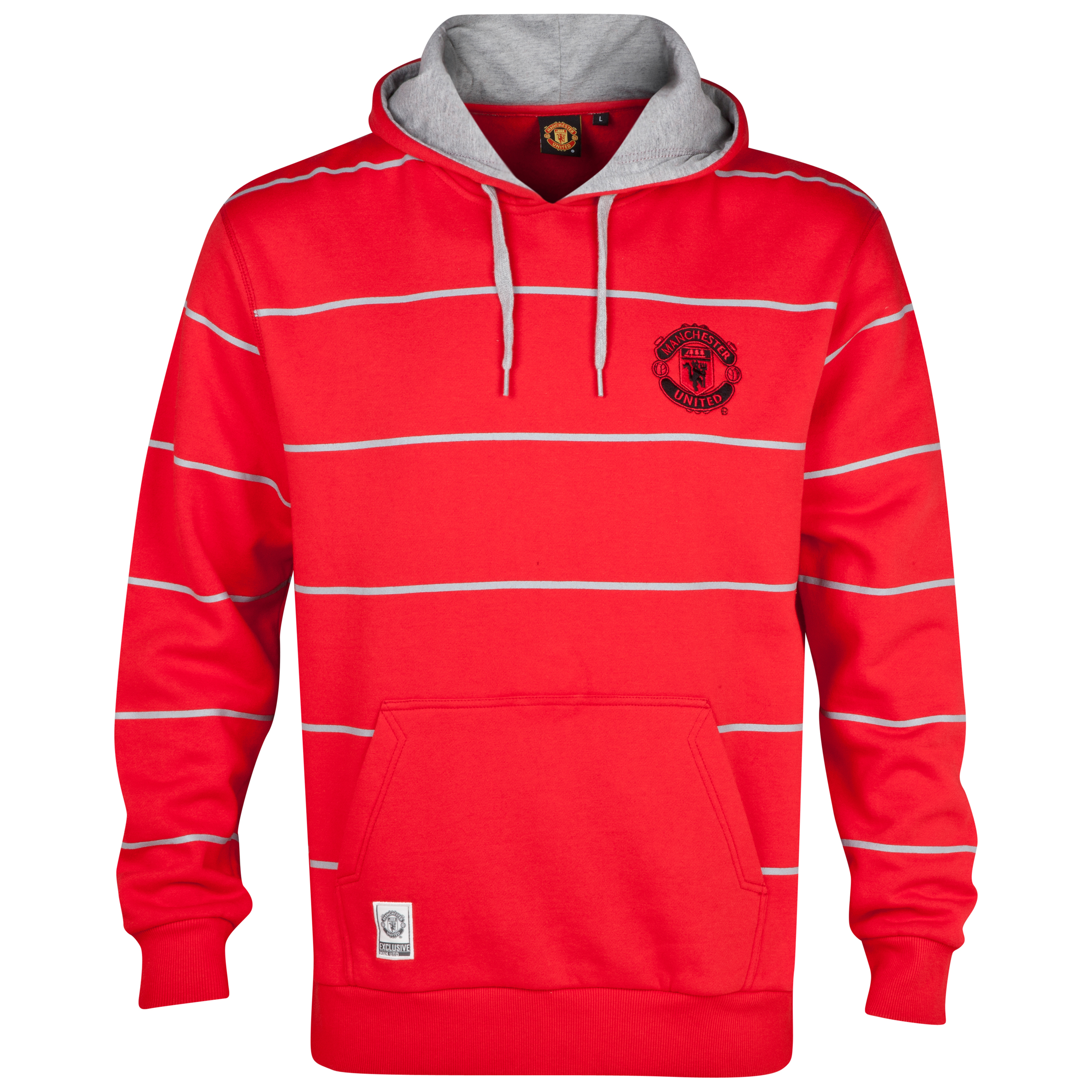 Manchester United Classic Striped Hoody  - Mens Red