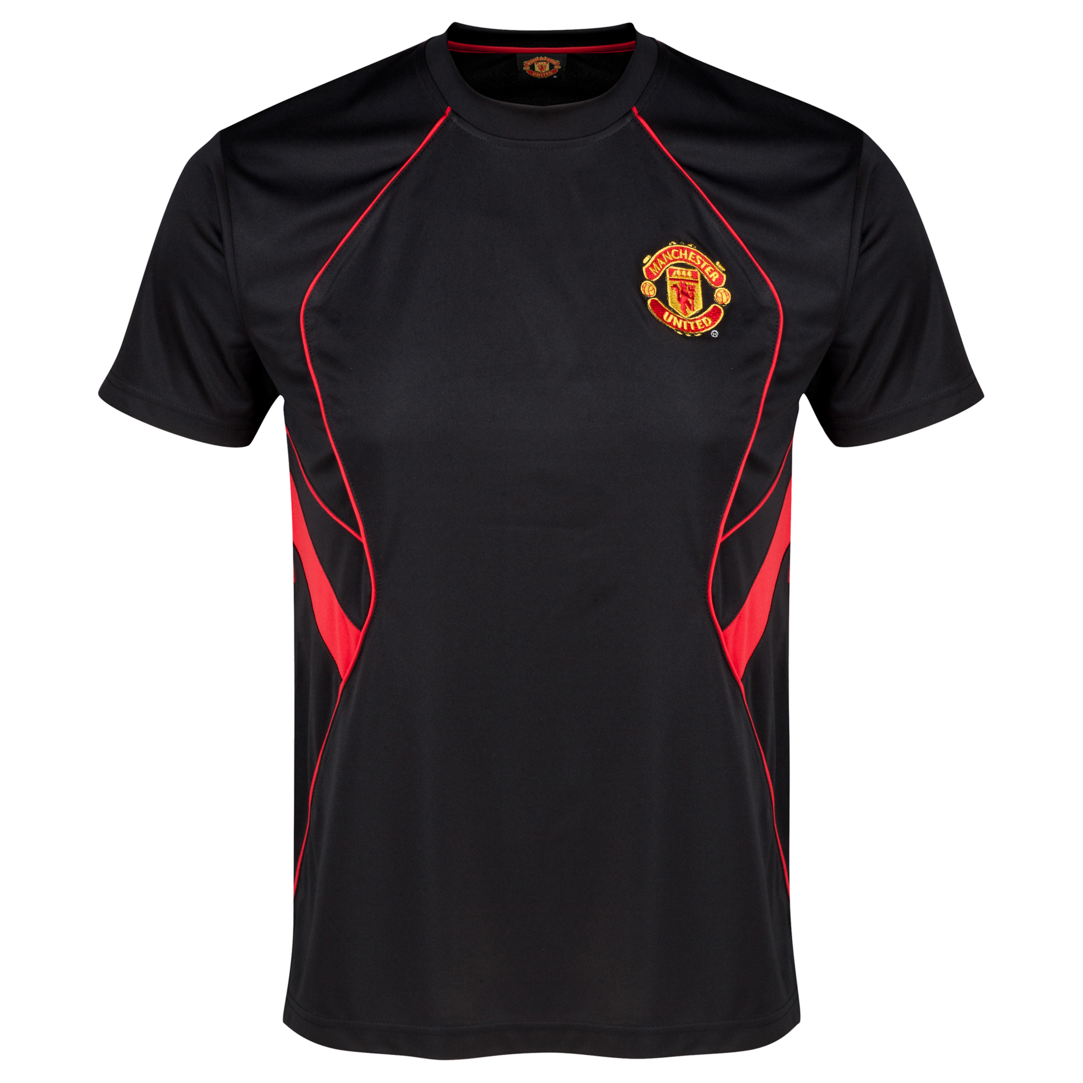 Manchester United Classic Poly Panel T-Shirt  - Mens Black