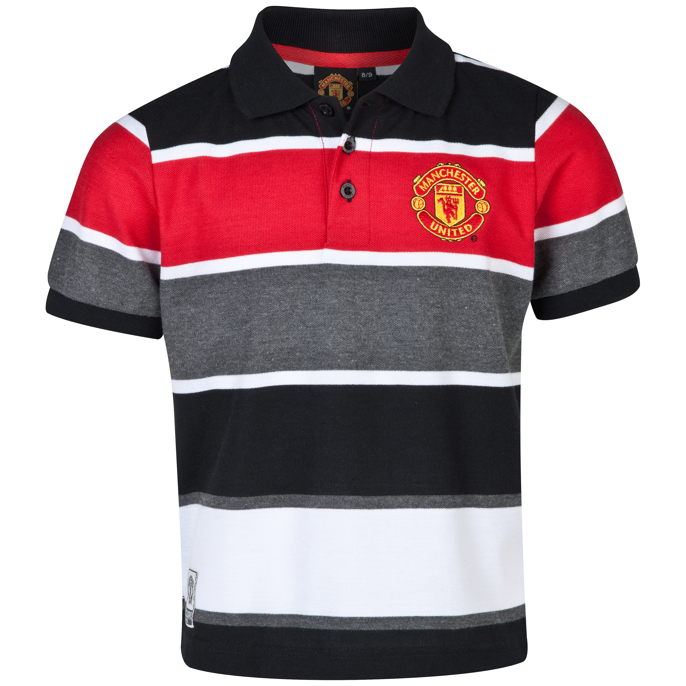 Manchester United Striped Polo Shirt- Older Boys Multi
