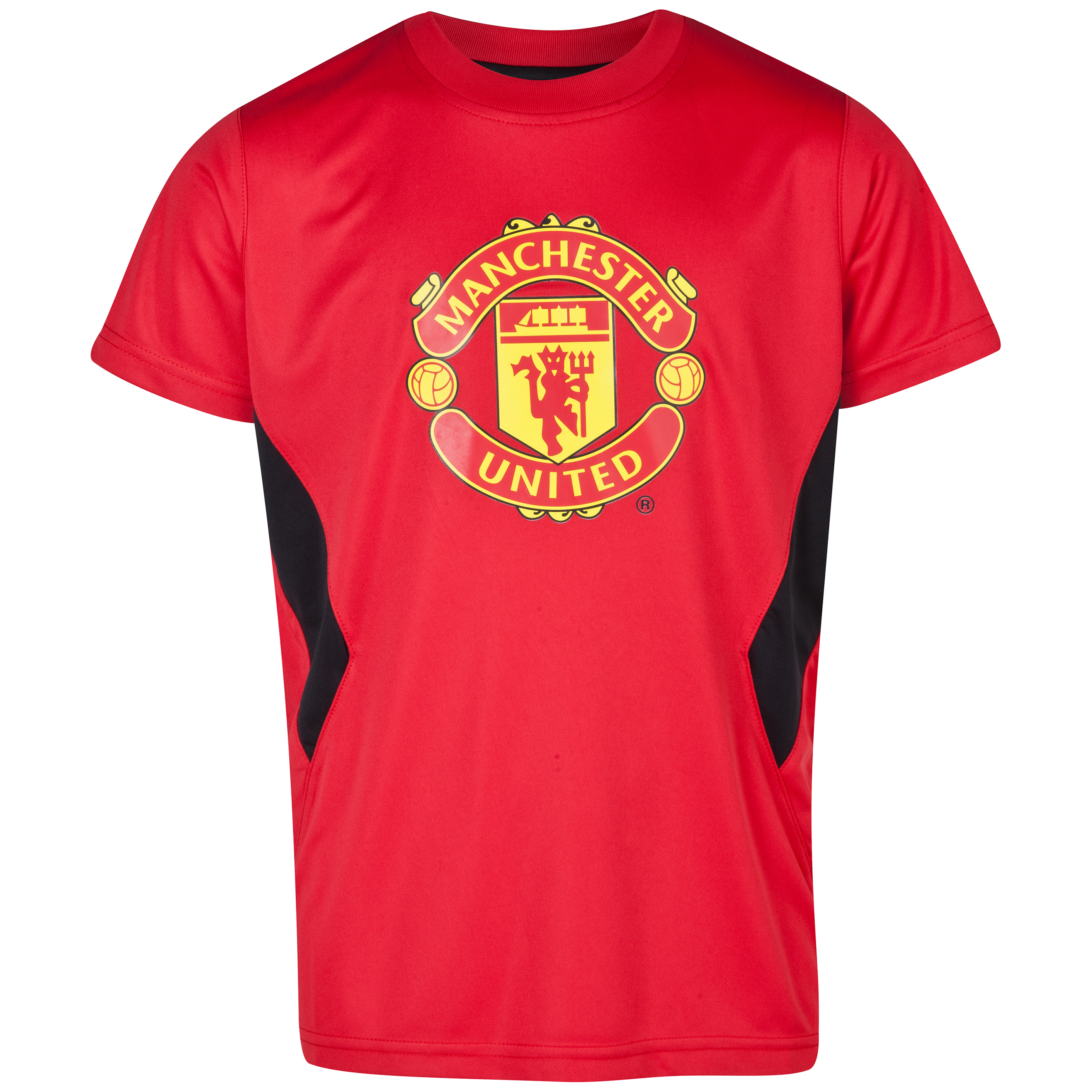 Manchester United Crest Poly Panel T-Shirt  - Older Boys Red