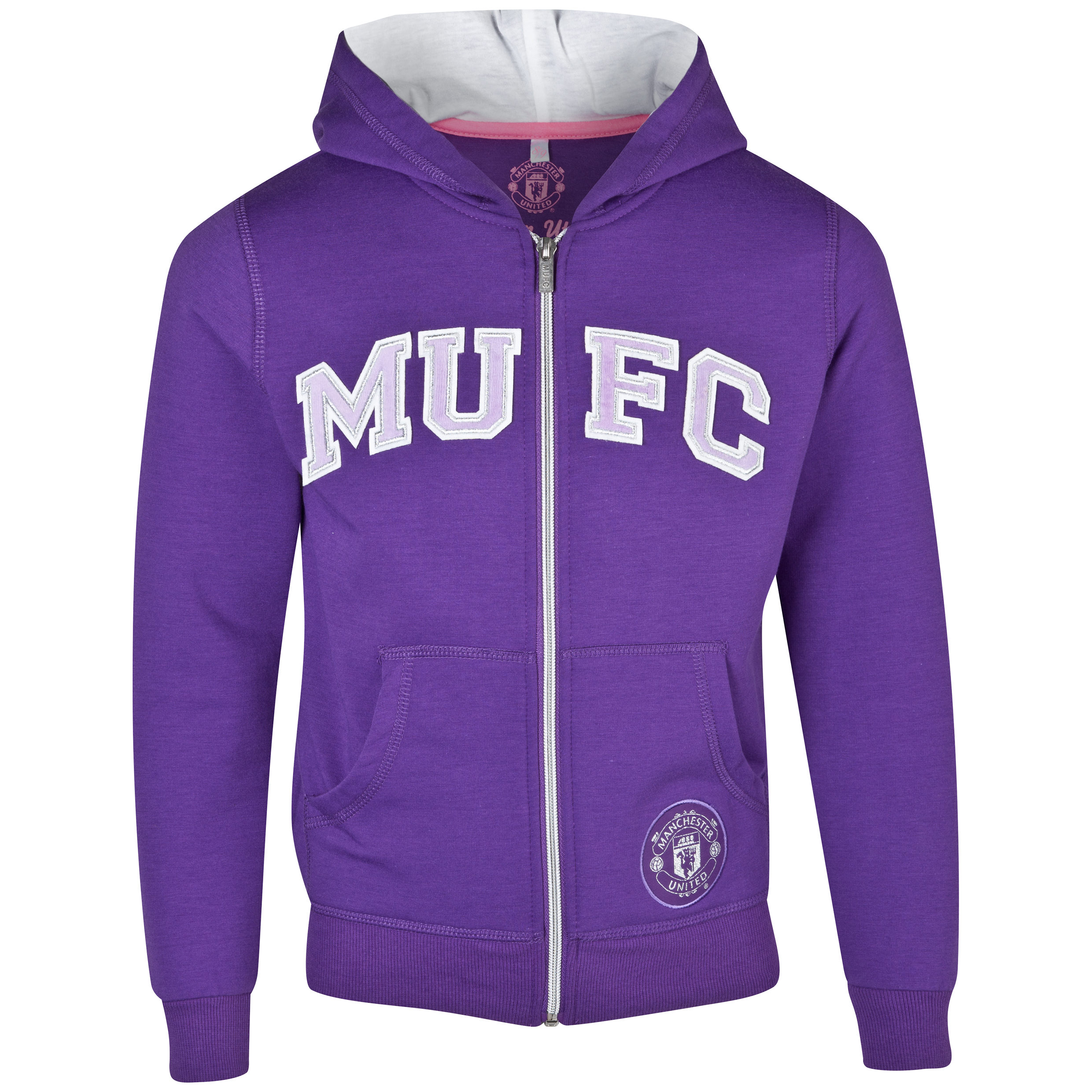 Manchester United Applique Zip Through Hoody - Girls Purple