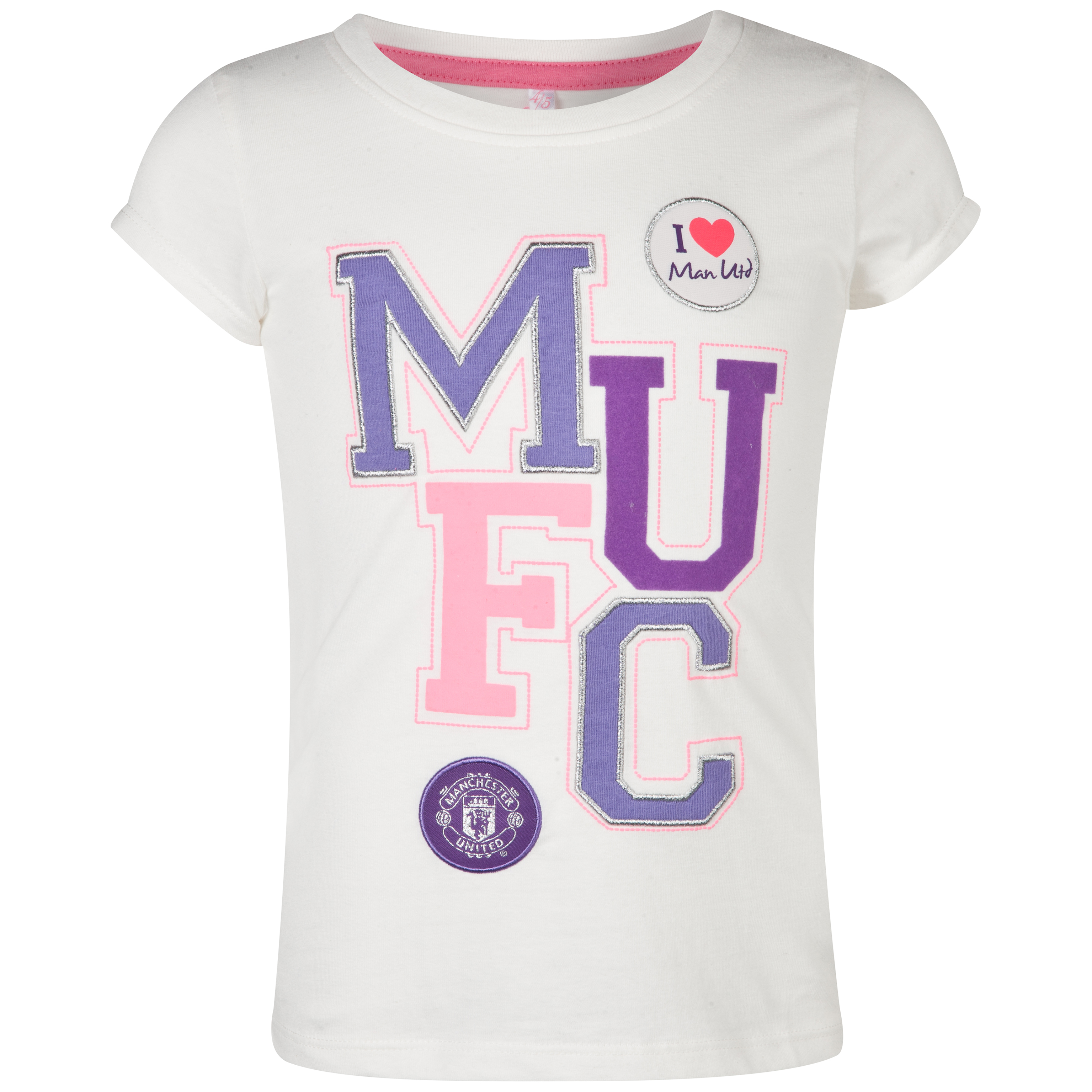 Manchester United Multi Applique Graphic T-Shirt  - Girls Beige
