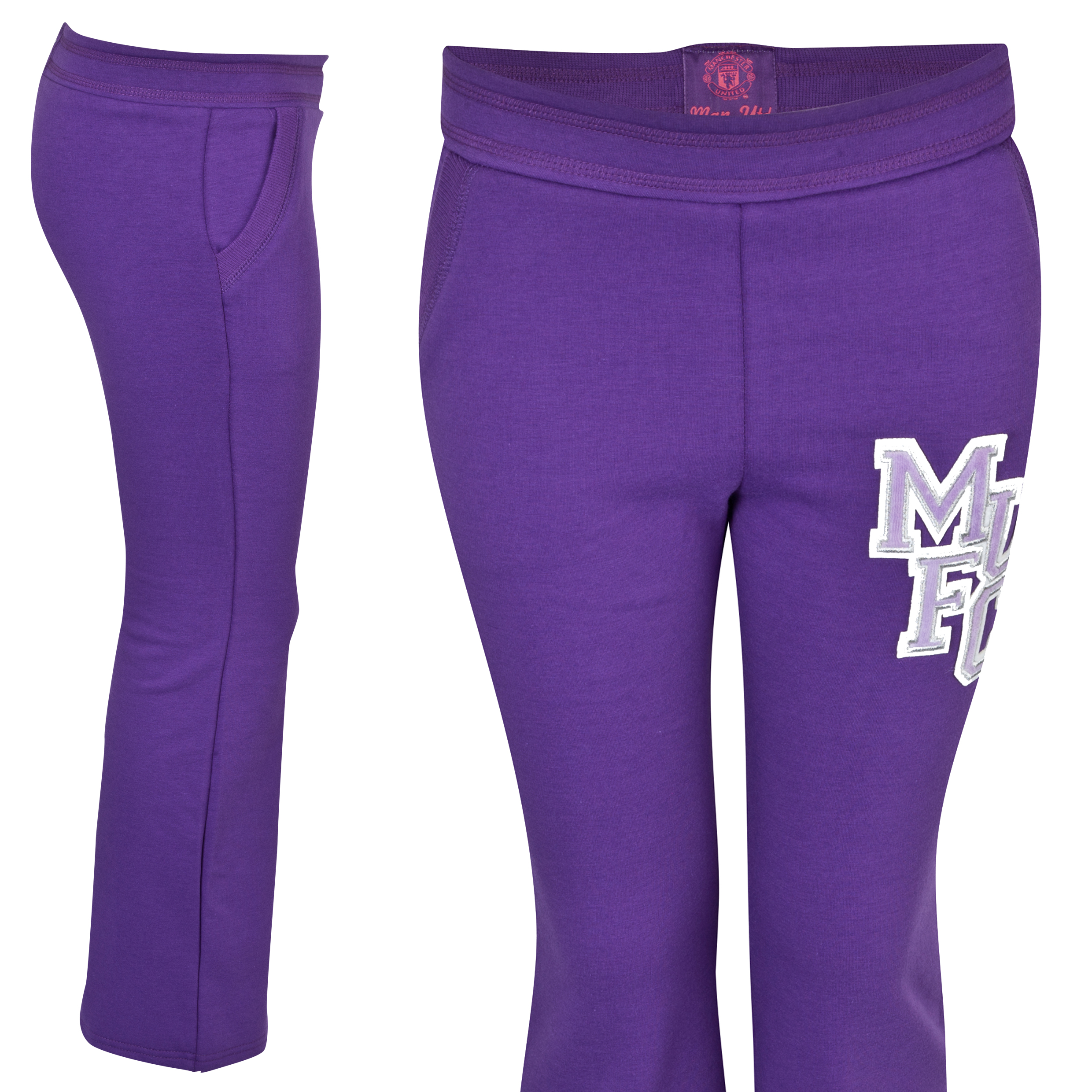 Manchester United Applique Joggers  - Girls Purple