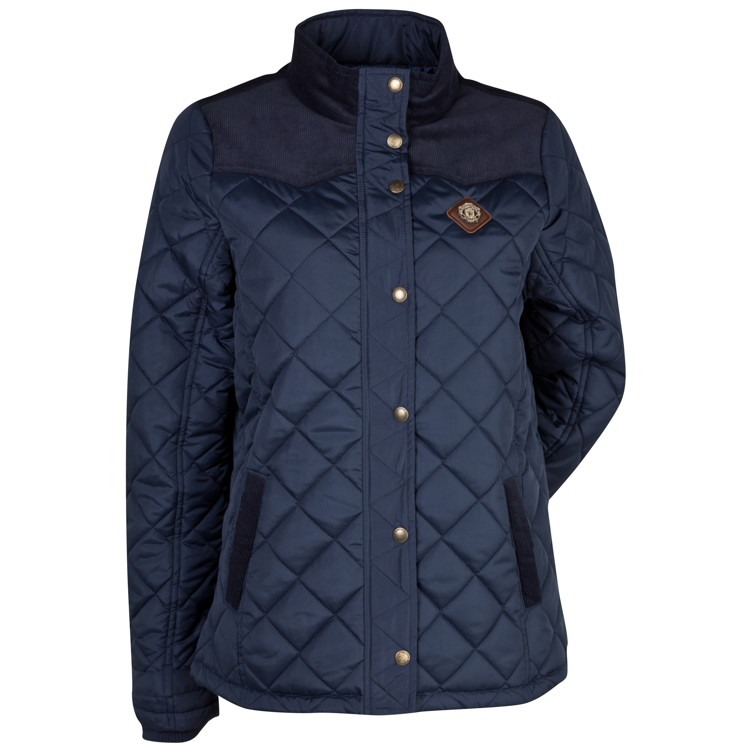 Manchester United Quilted Jacket  - Womens Navy