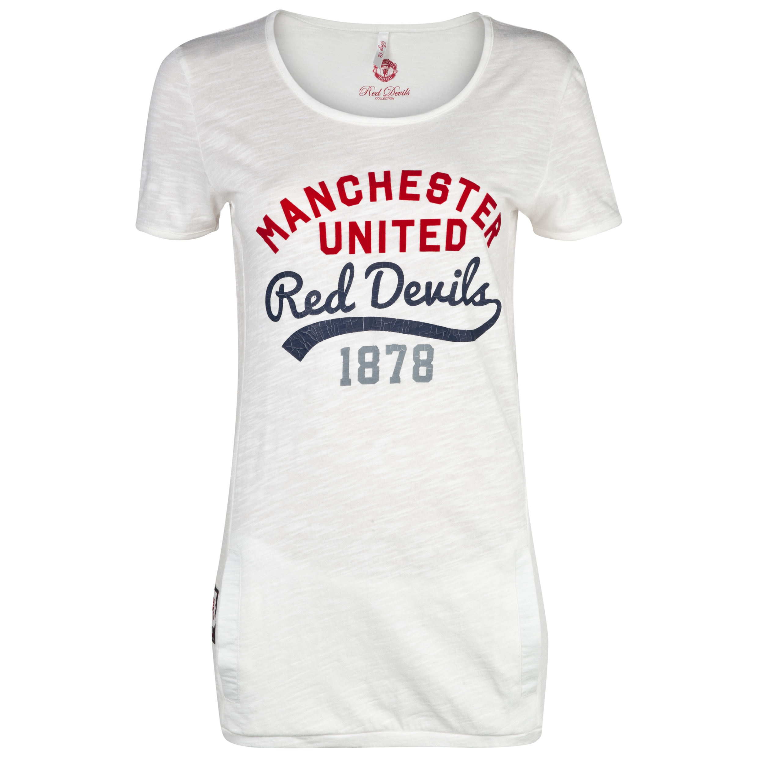 Manchester United Long Line Pocket T-Shirt  - Womens Beige