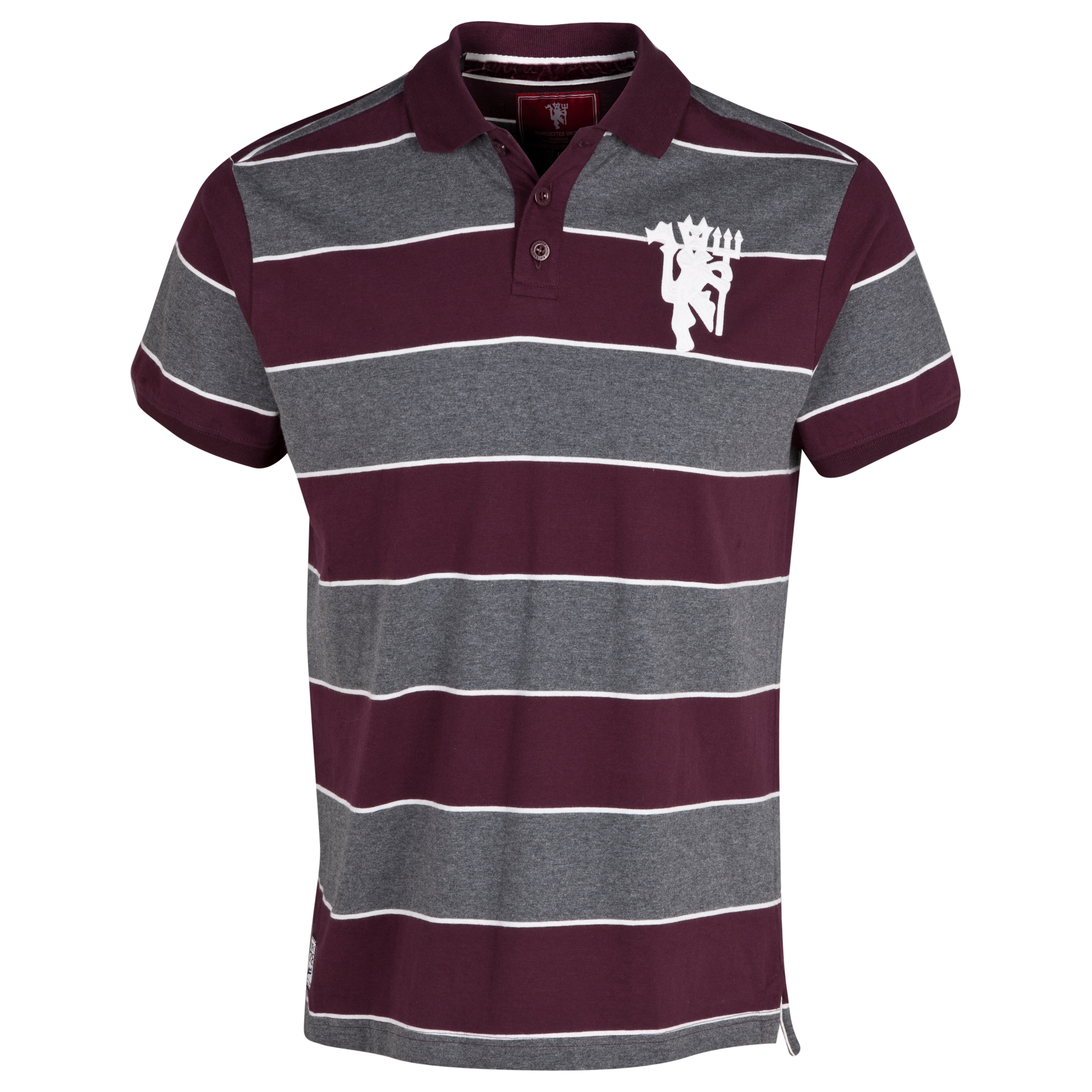 Manchester United Heritage Large Devil Striped Polo Shirt - Mens Purple
