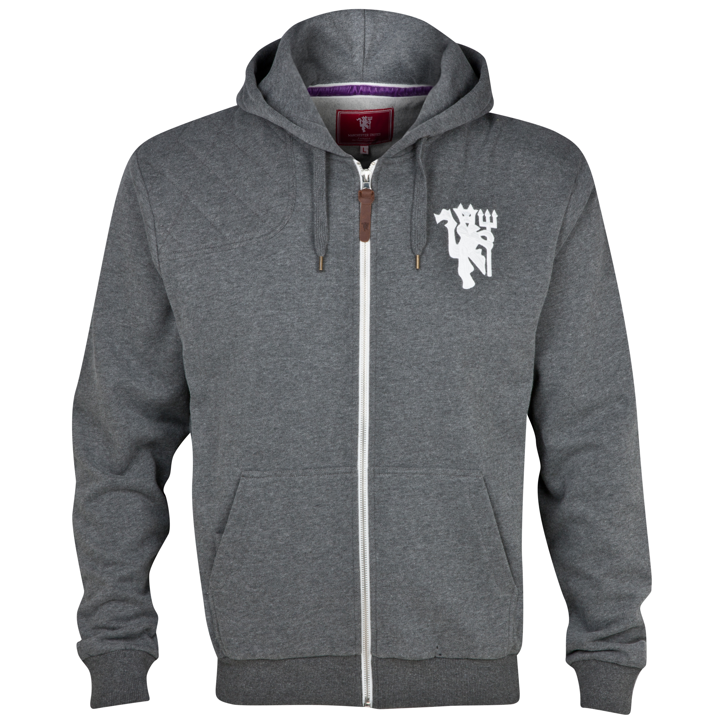 Manchester United Quilted Patch Hoody - Mens Charcoal