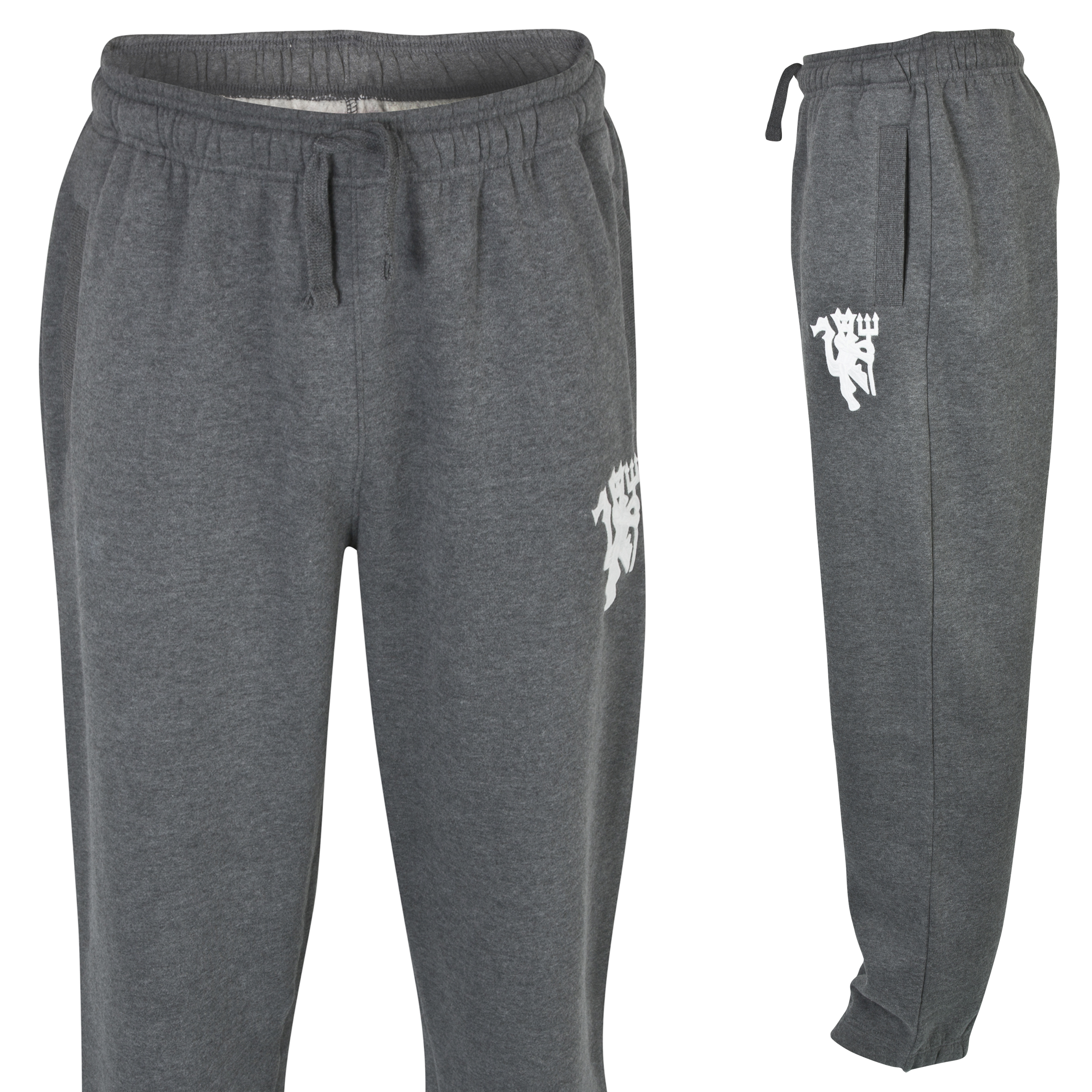 Manchester United Heritage Fleece Joggers - Mens Charcoal